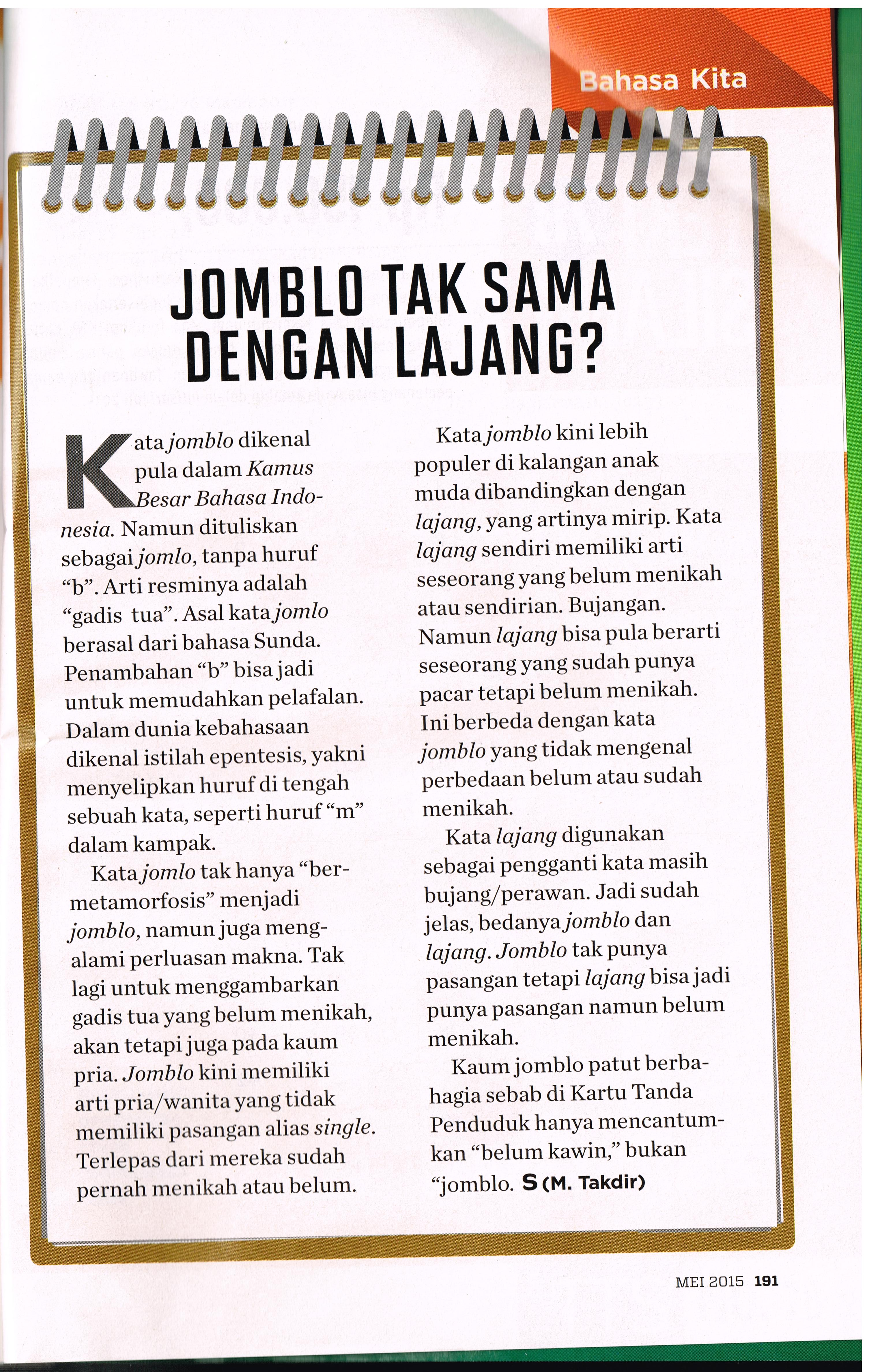Jomblo Tak Sama dengan Lajang.intisari eds 632.Mei.2015.pg 191