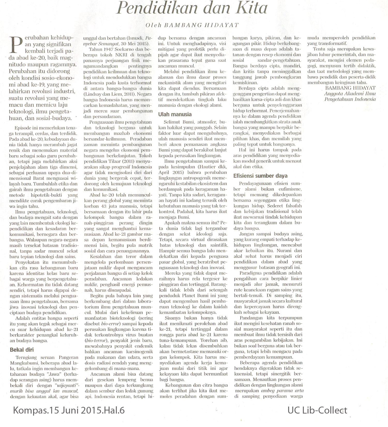 Pendidikan dan Kita. Kompas.15-Juni-2015.Hal.6