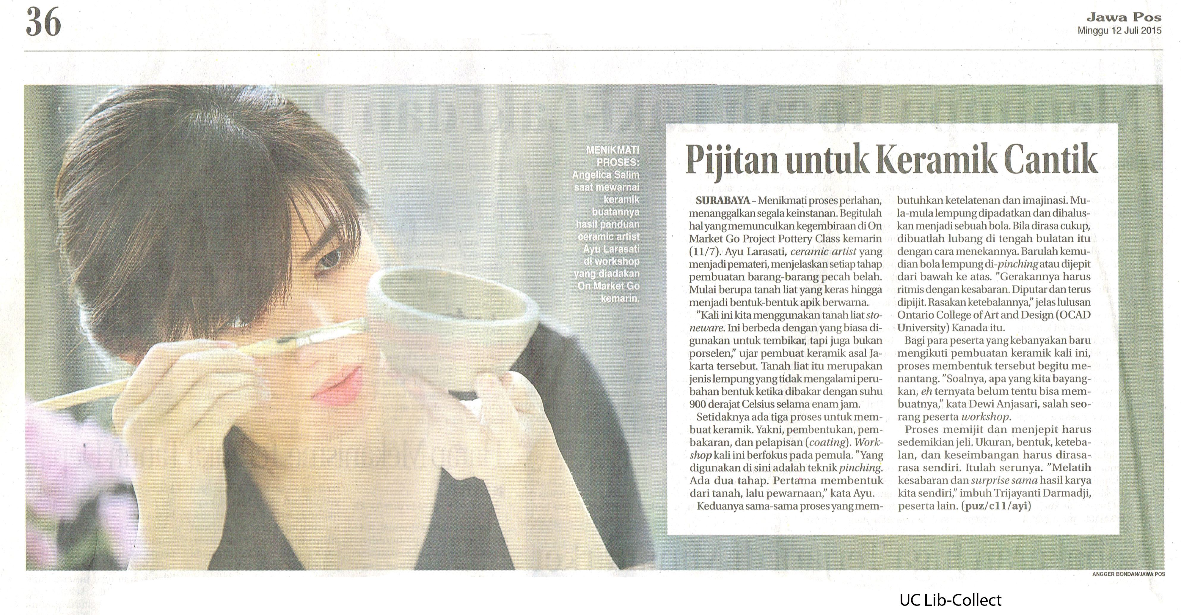 Pijitan untuk Keramik Cantik. 12 Juli 2015.Hal.36