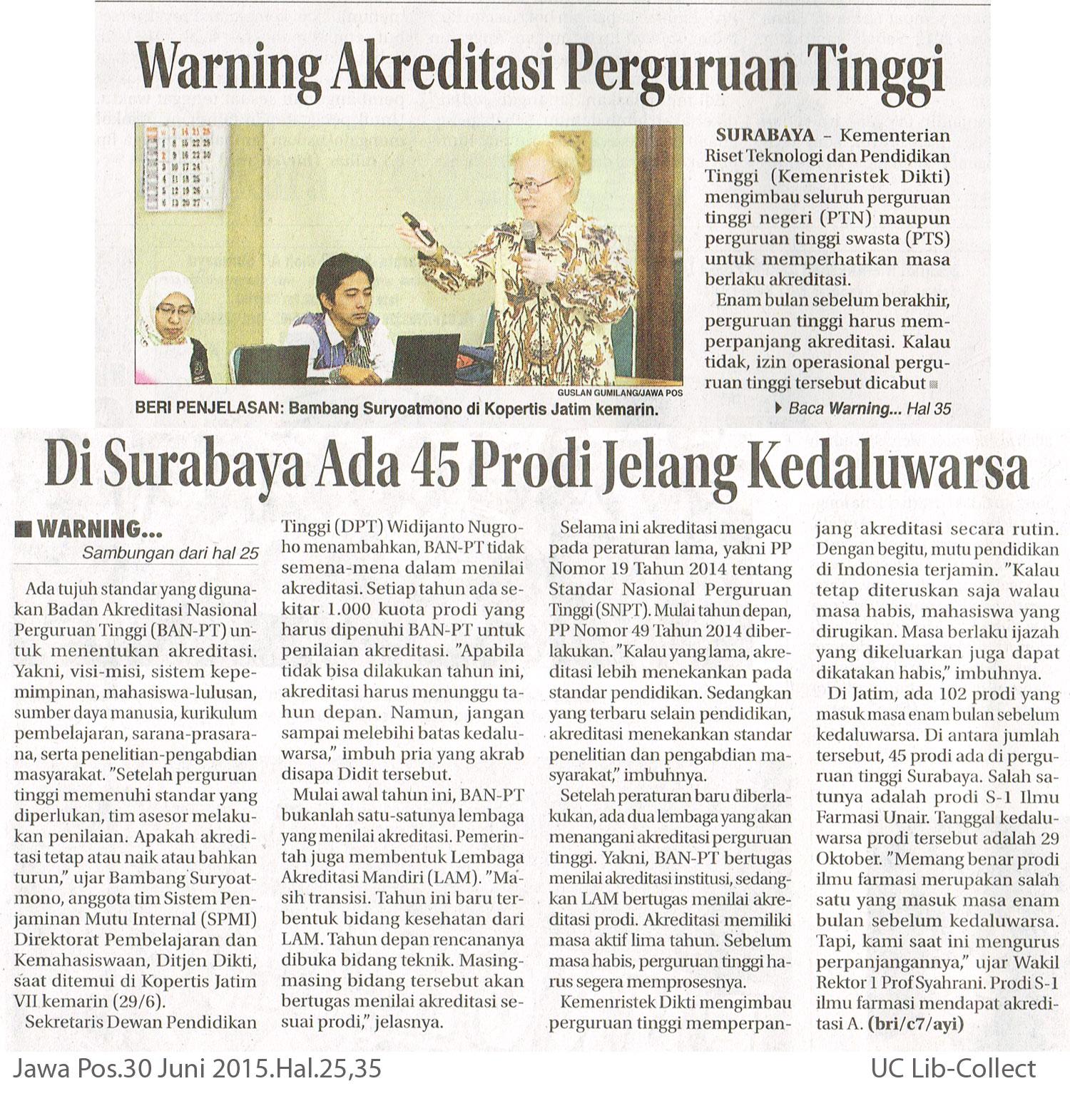 Warning-Akreditasi-Perguruan-Tinggi.-Jawa-Pos.30-Juni-2015.Hal.25,35