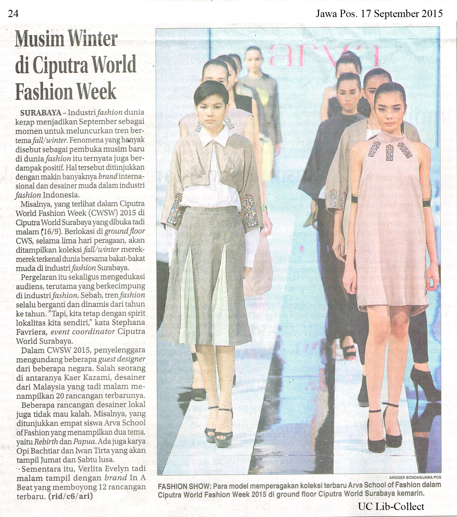 Musim Winter di Ciputra World Fashion Week. Jawa Pos.17 September 2015.Hal.24