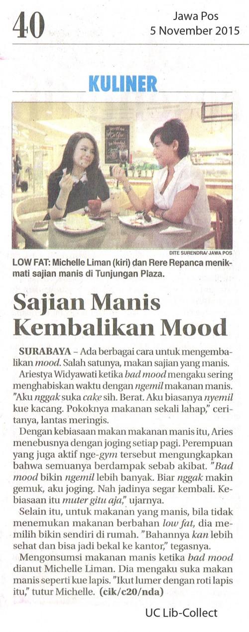 Sajian Manis Kembalikan Mood.  Jawa Pos. 5 November 2015