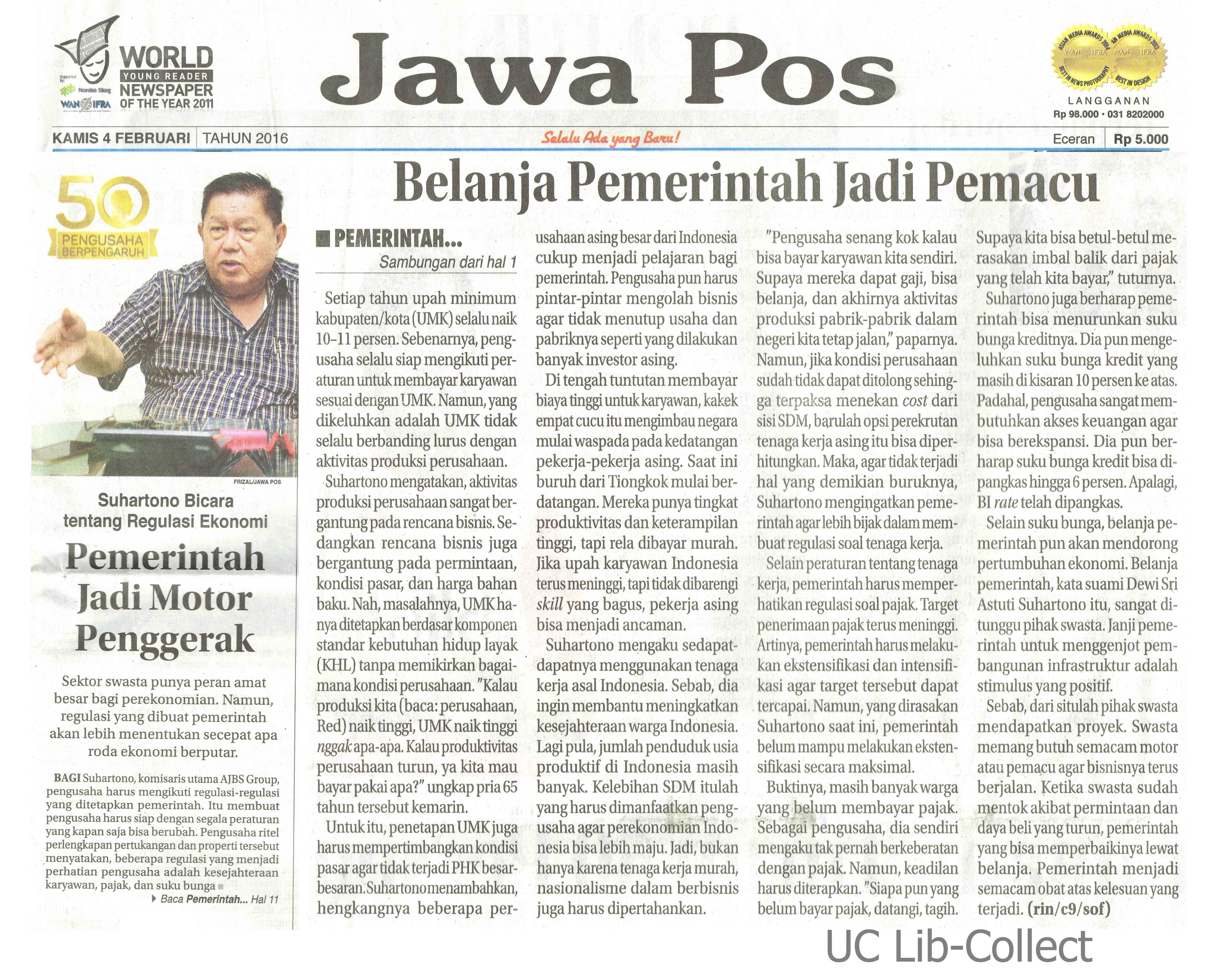 4 Februari 2016. Suhartono Bicara tentang Regulasi Ekonomi_Pemerintah Jadi Motor Penggerak. Jawa Pos. 4 Februari 2016. Hal.1,11