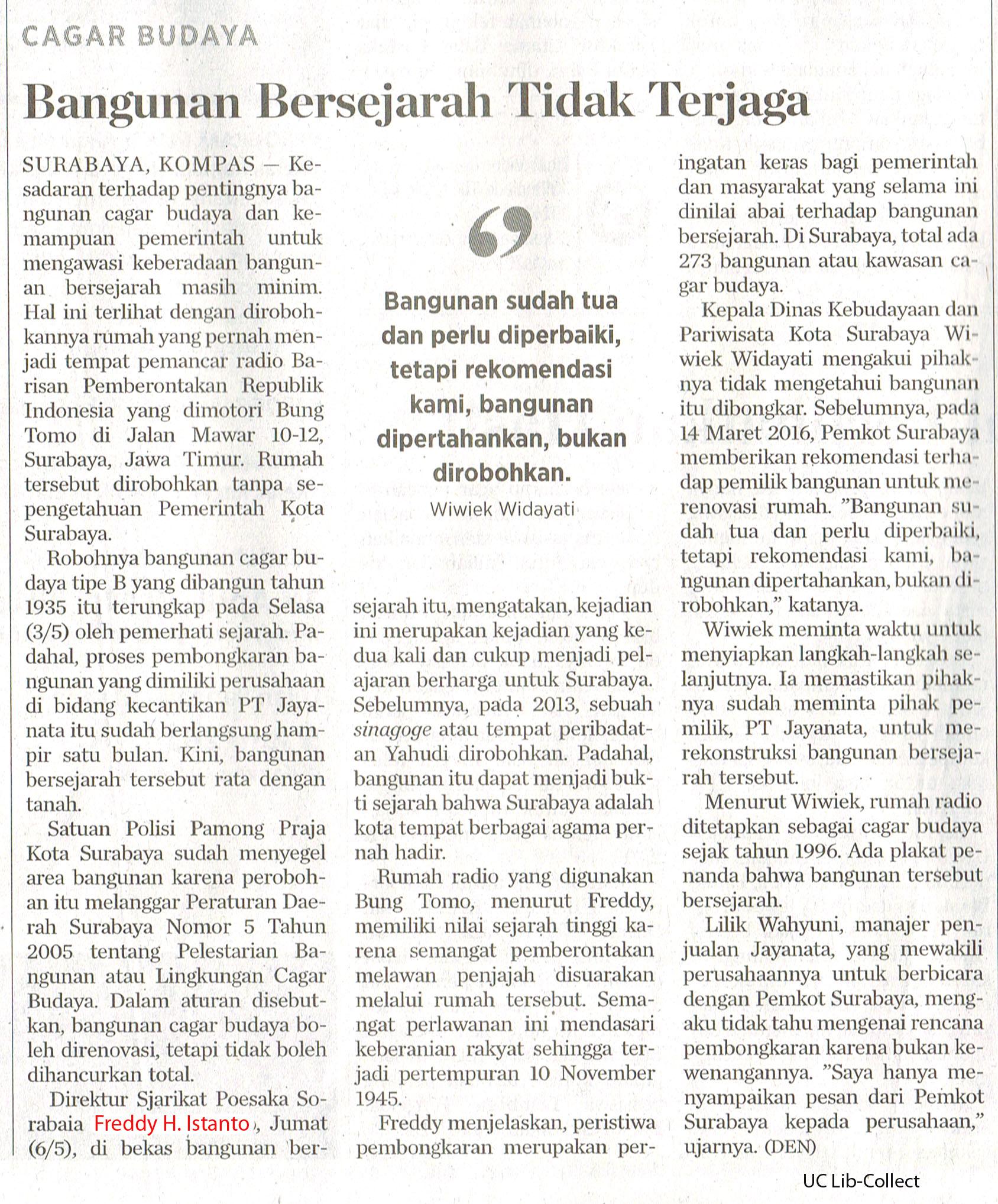 Cagar Budaya_Bangunan Bersejarah Tidak Terjaga.Kompas. 7 Mei 2016.Hal.12