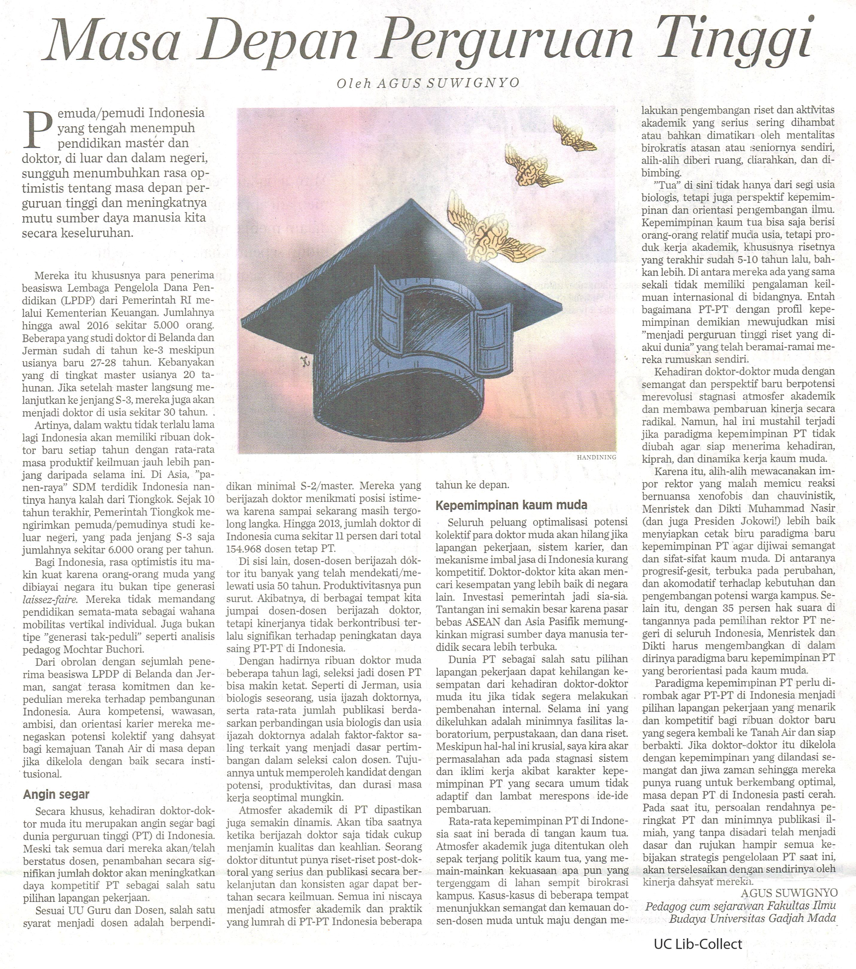Masa Depan Perguruan Tinggi. Kompas.21 Juni 2016.Hal.6