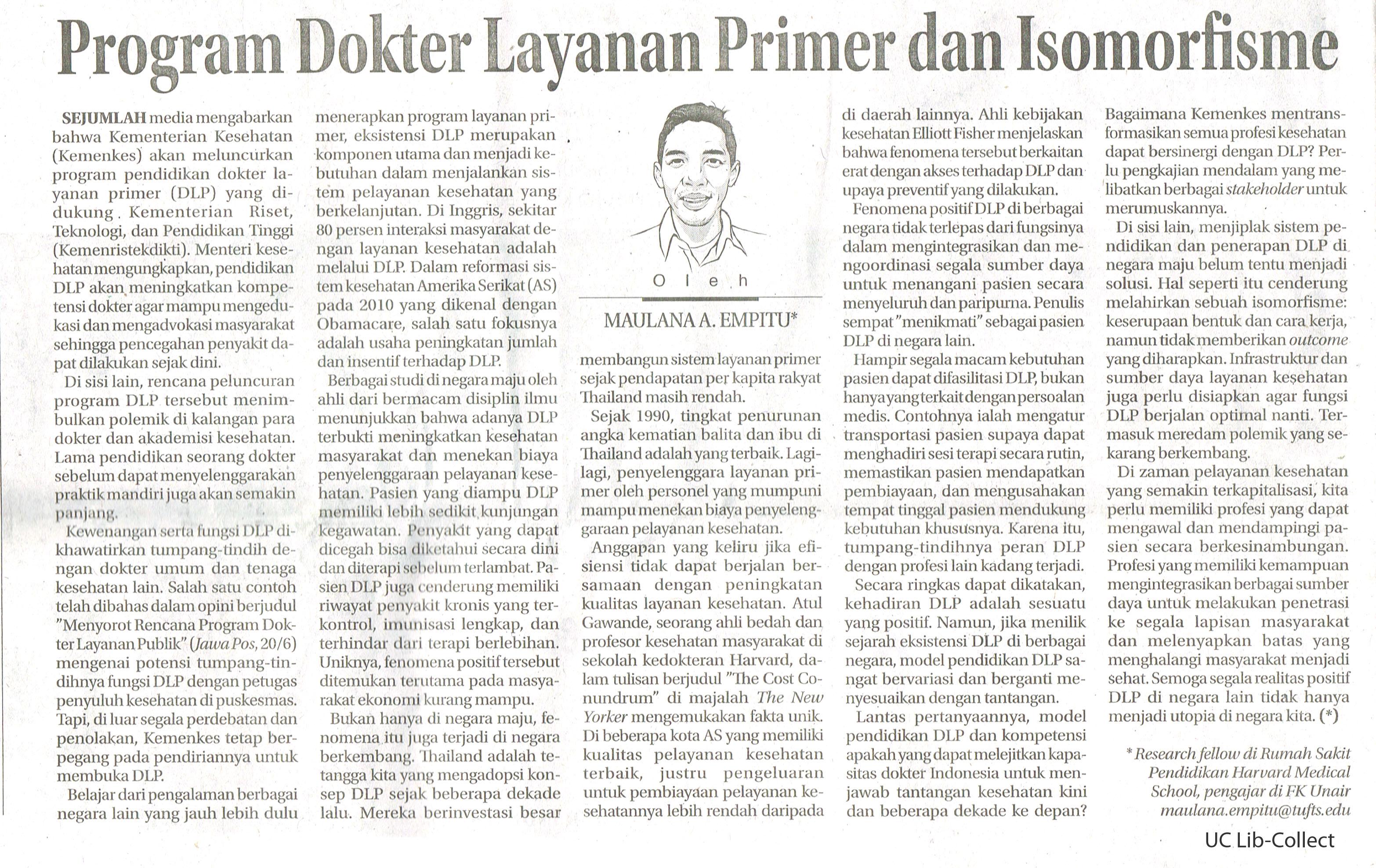 Program Dokter Layanan Primer dan Isomorfisme.Jawa Pos. 21 Juni 2016.Hal.4
