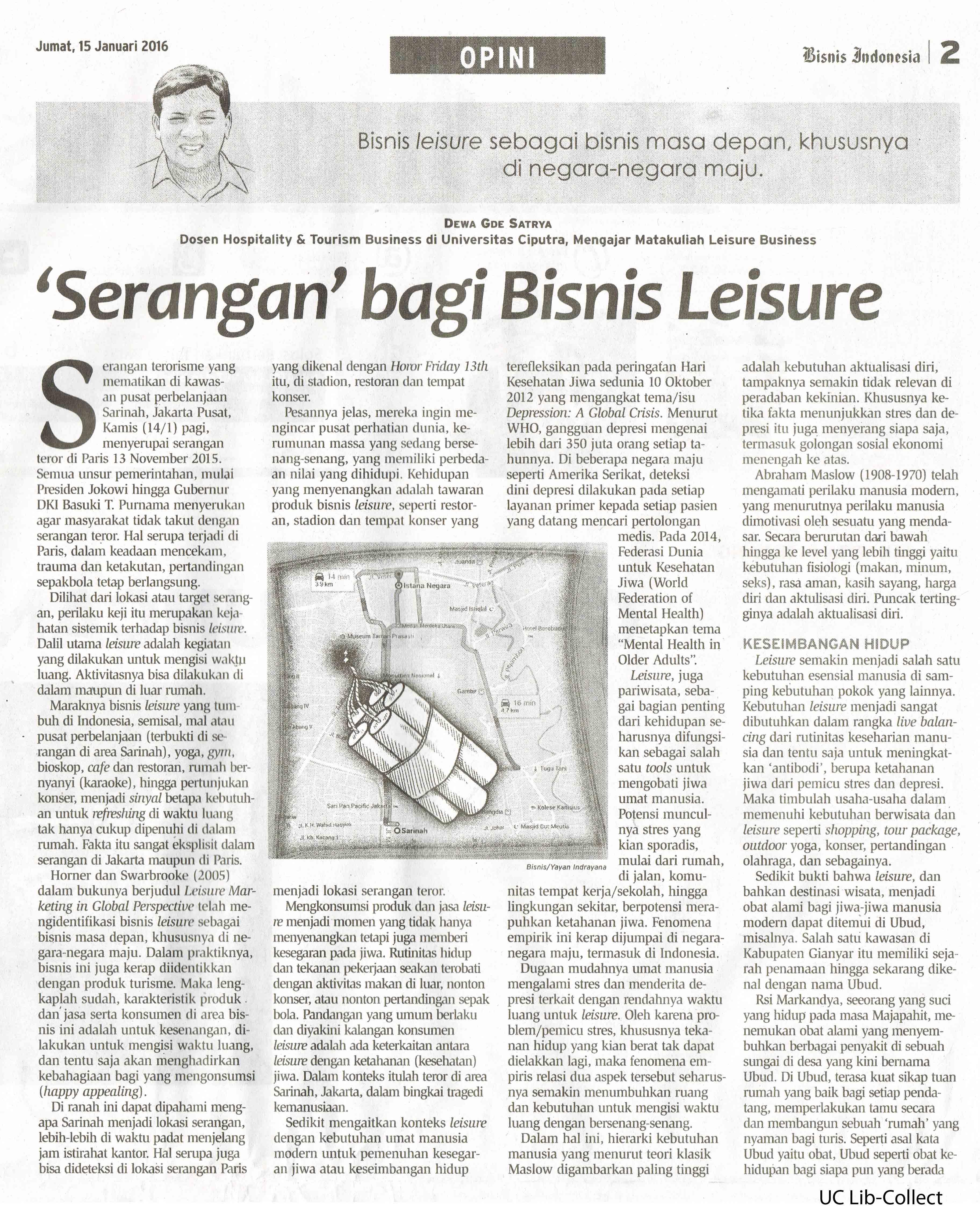 Serangan Bagi Bisnis Leisure Bisnis Indonesia 15 Januari 2016 Hal 2