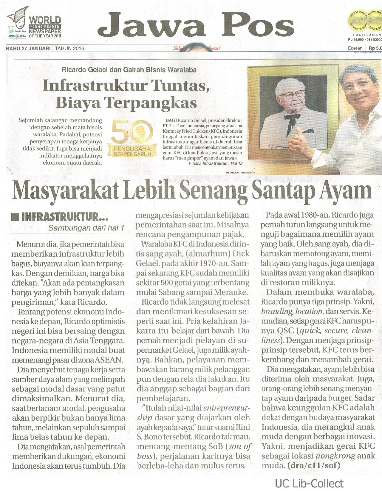 27 Januari 2016. Ricardo Gelael dan Gairah Bisnis Waralaba_Infrastruktur Tuntas, Biaya Terpangkas. Jawa Pos. 27 Januari 2016.Hal. 1,13