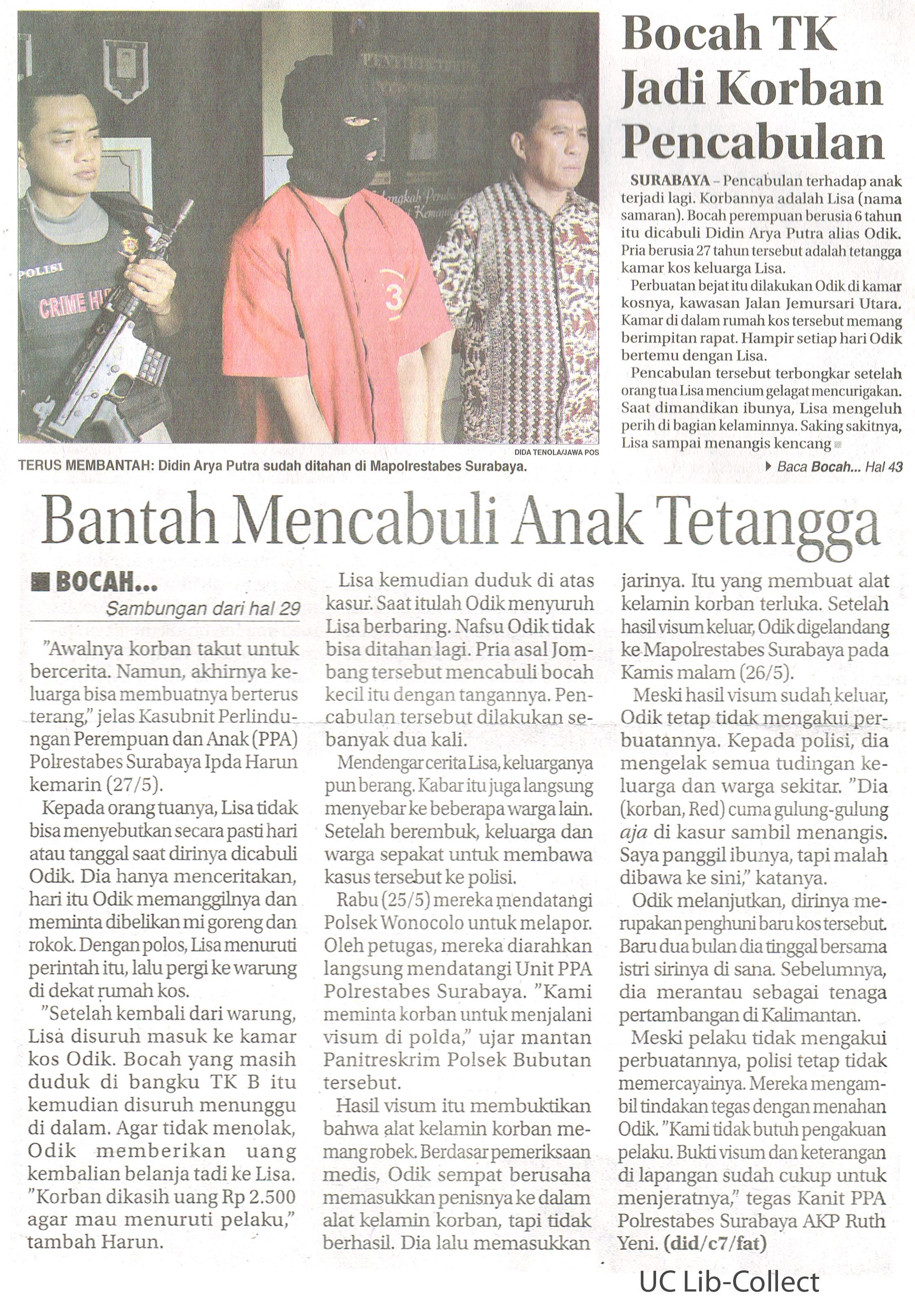 Bocah TK Jadi Korban Pencabulan. Jawa Pos.28 Mei 2016.Hal.29,43