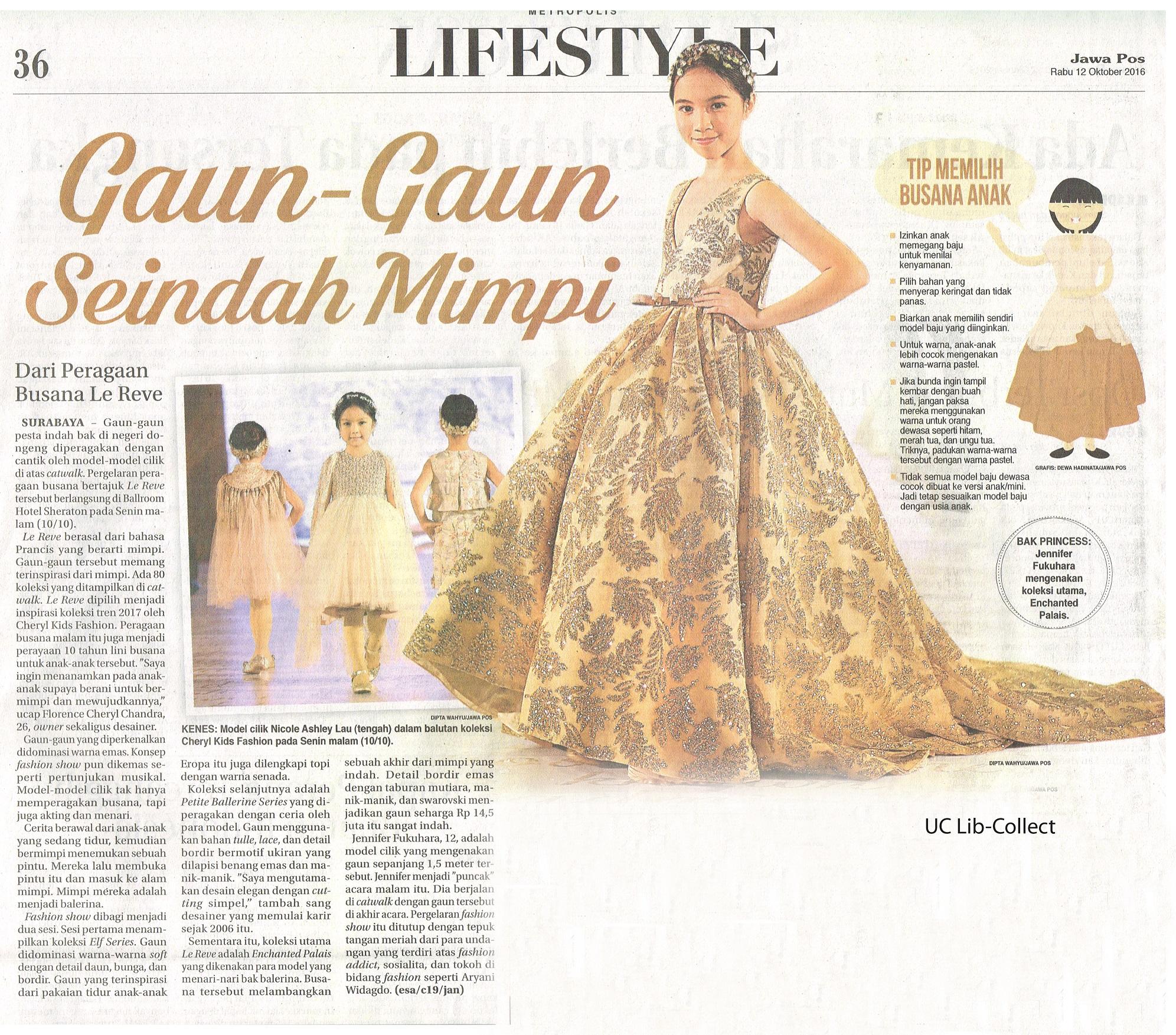 Gaun-Gaun Seindah Mimpi. Jawa Pos. 12 Oktober 2016.Hal.36