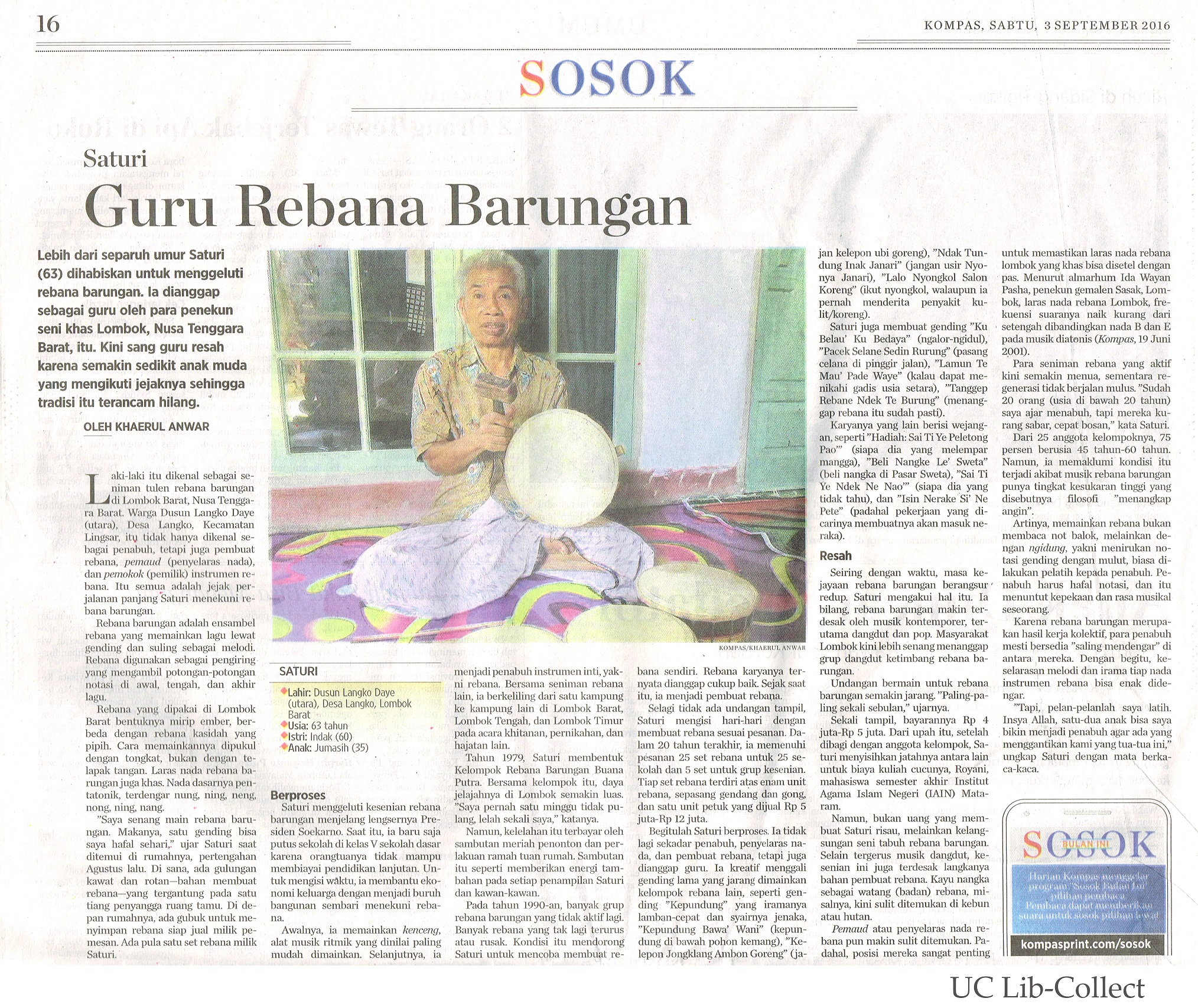 Guru Rebana Barungan. Kompas.3 September 2016. Hal.16