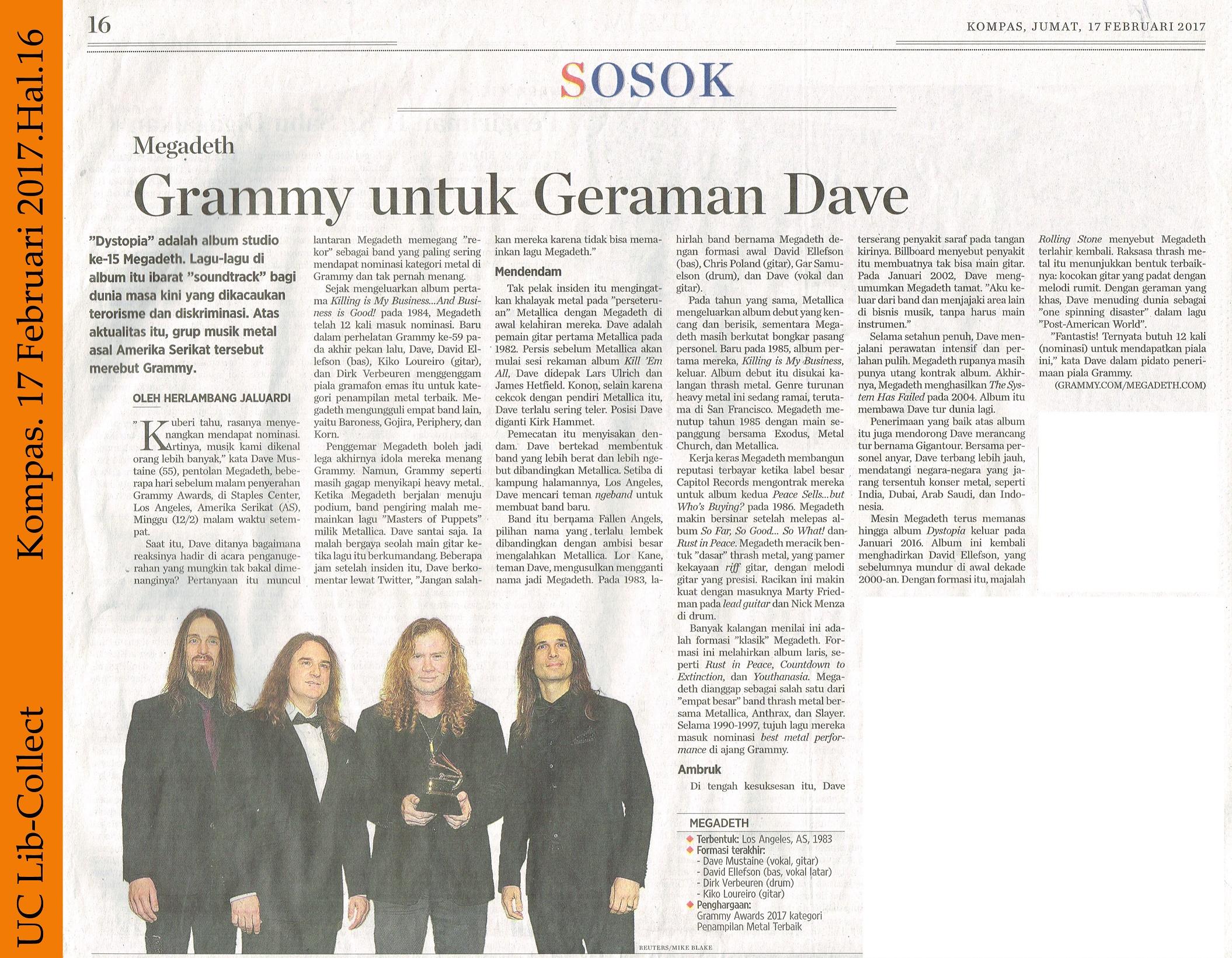 Megadeth_Grammy untuk Geraman Dave.Kompas 17 Februari 2017.Hal.16
