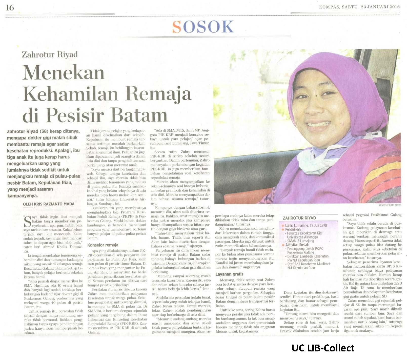 Menekan Kehamilan Remaja di Pesisir Batam.Kompas.23 Januari 2016.Hal.16