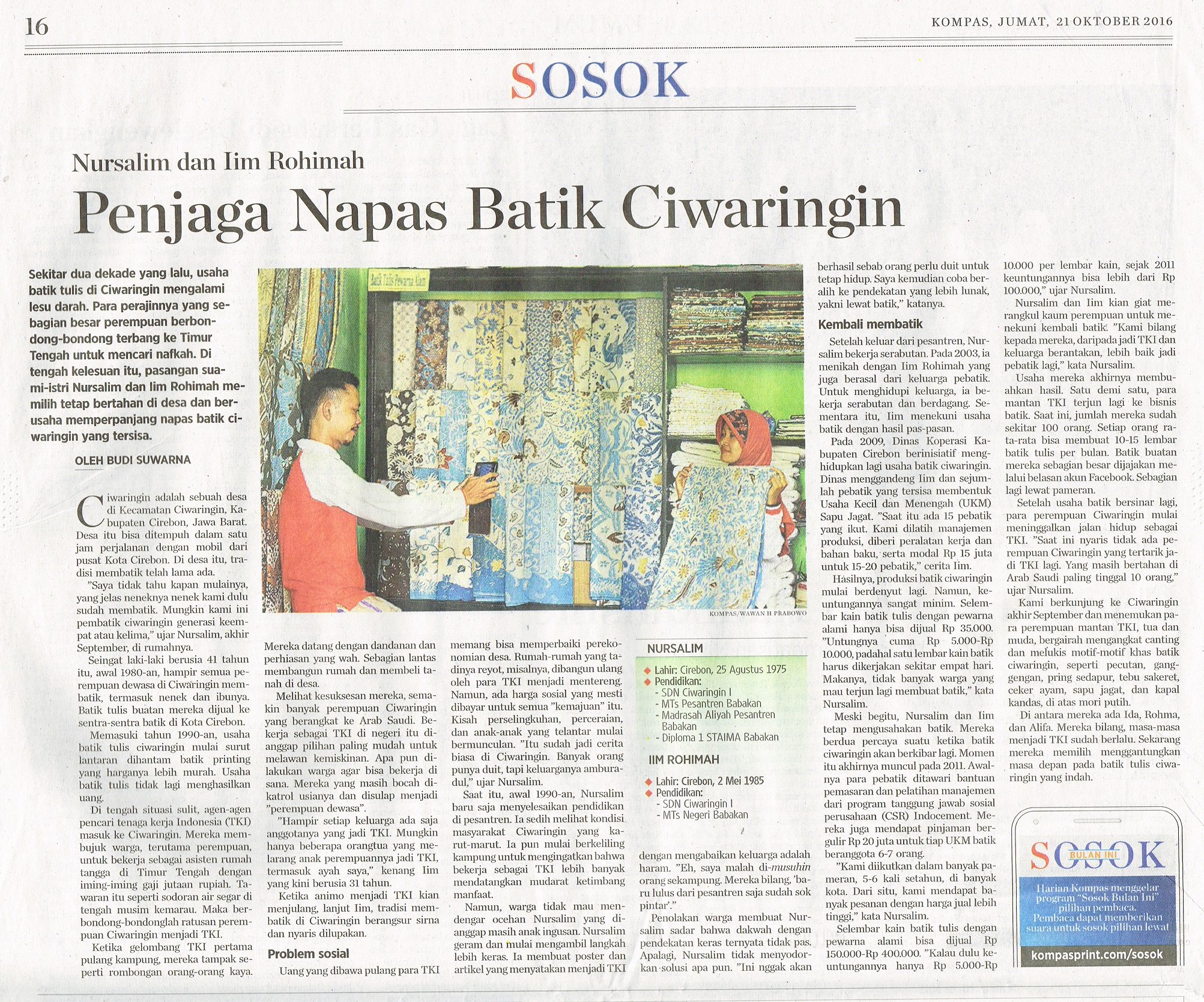 Penjaga Napas Batik Ciwaringin. Kompas.21 Oktober 2016.Hal.16