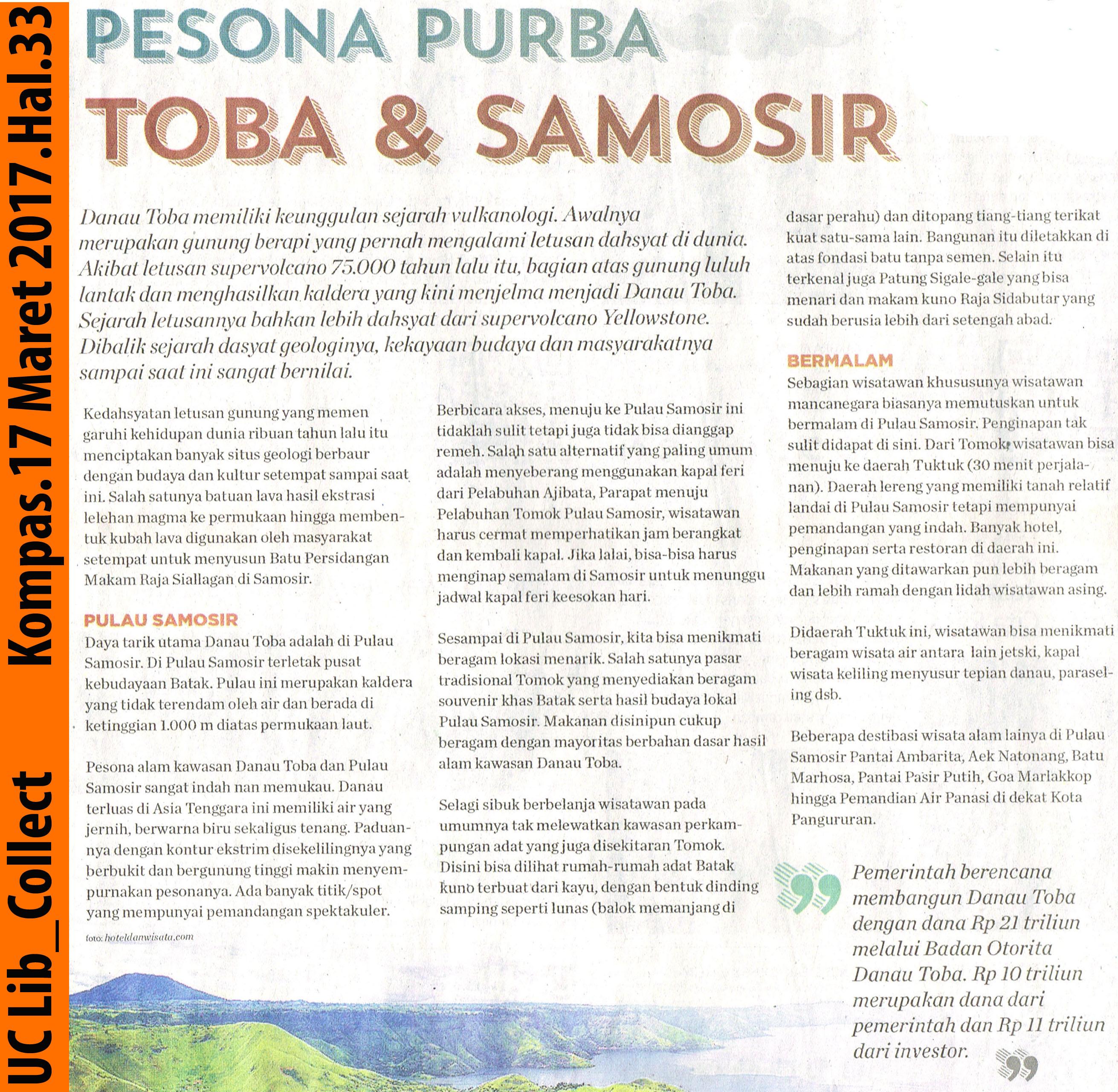 Pesona Purba Toba dan Samosir.Kompas.17 Maret 2017.Hal.33