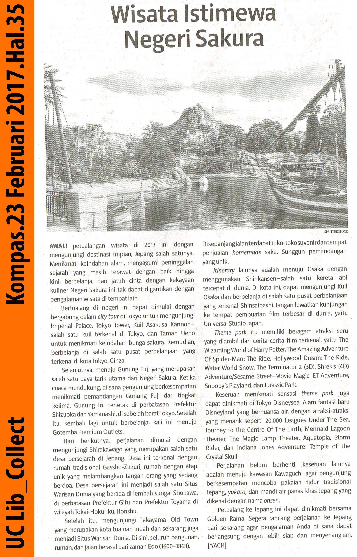 Wisata Istimewa Negeri Sakura.Kompas.23 Februari 2017.Hal.35
