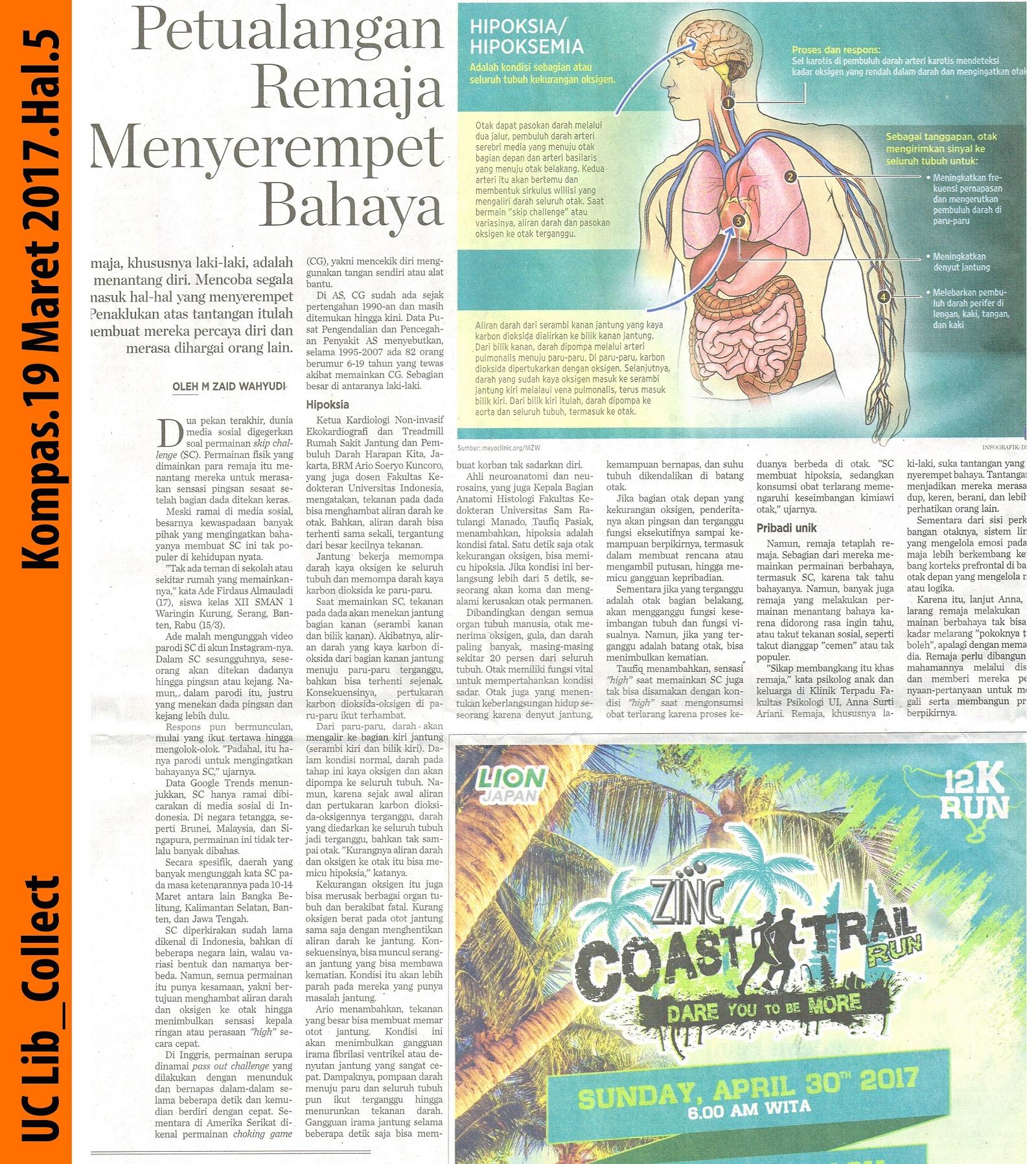 Petualangan Remaja Menyerempet Bahaya.Kompas.19 Maret 2017.Hal.5
