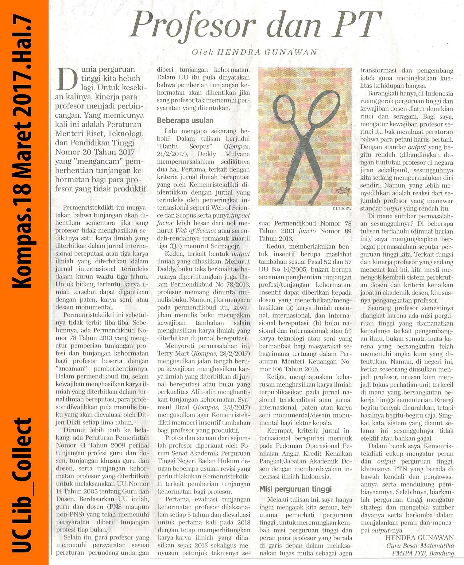 Profesor dan PT.Kompas.18 Maret 2017.Hal.7