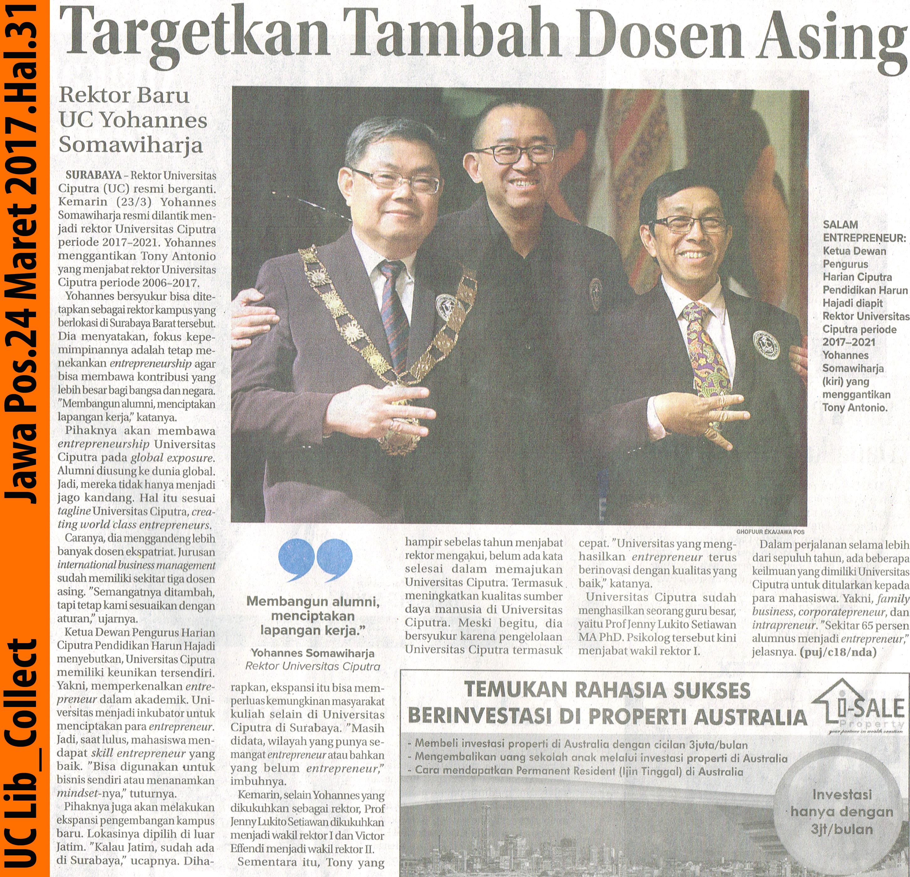 Targetkan Tambah Dosen Asing.Jawa Pos.24 Maret 2017.Hal.31
