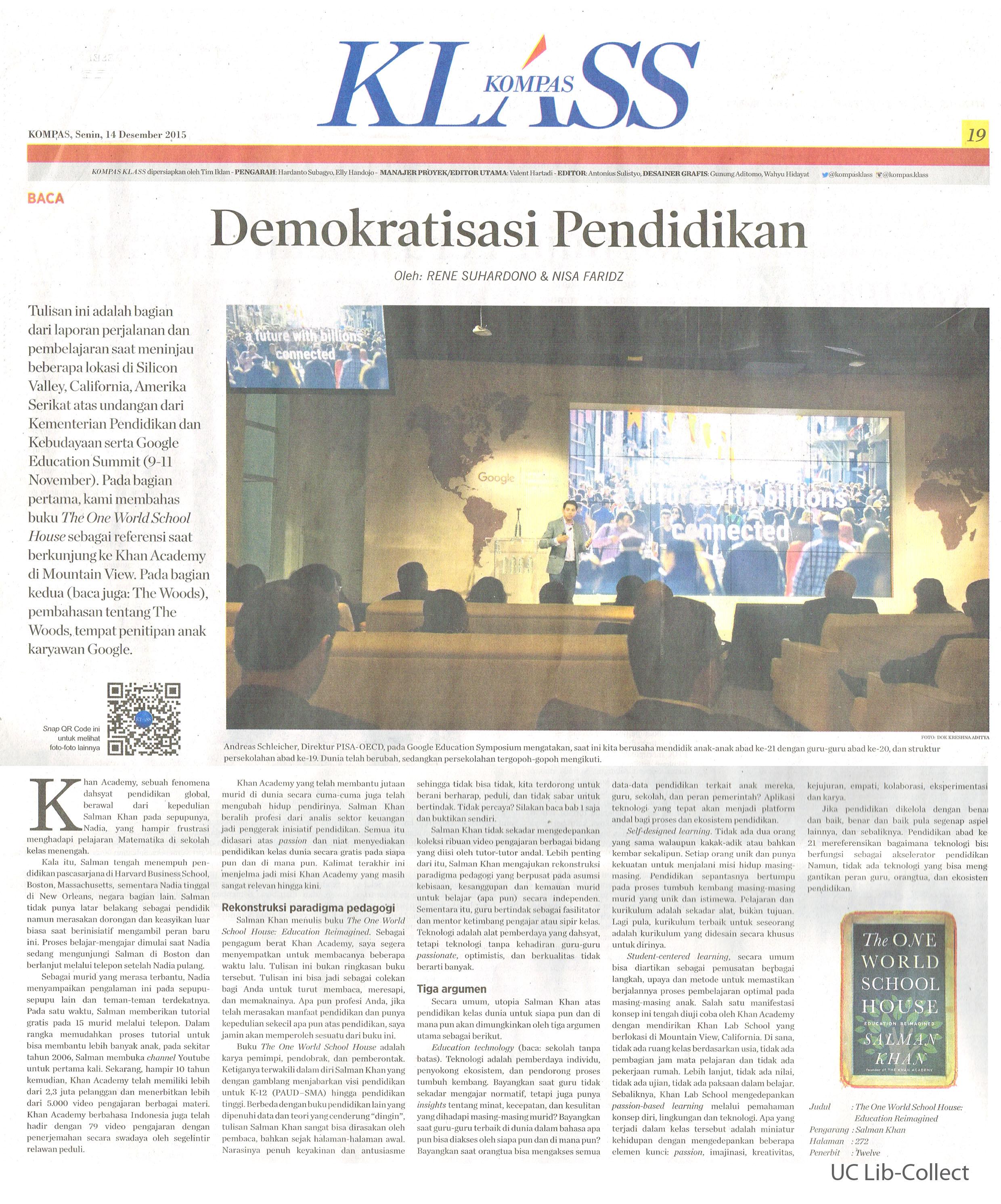 Demokratisasi Pendidikan. Kompas.14 Desember 2015.Hal.19