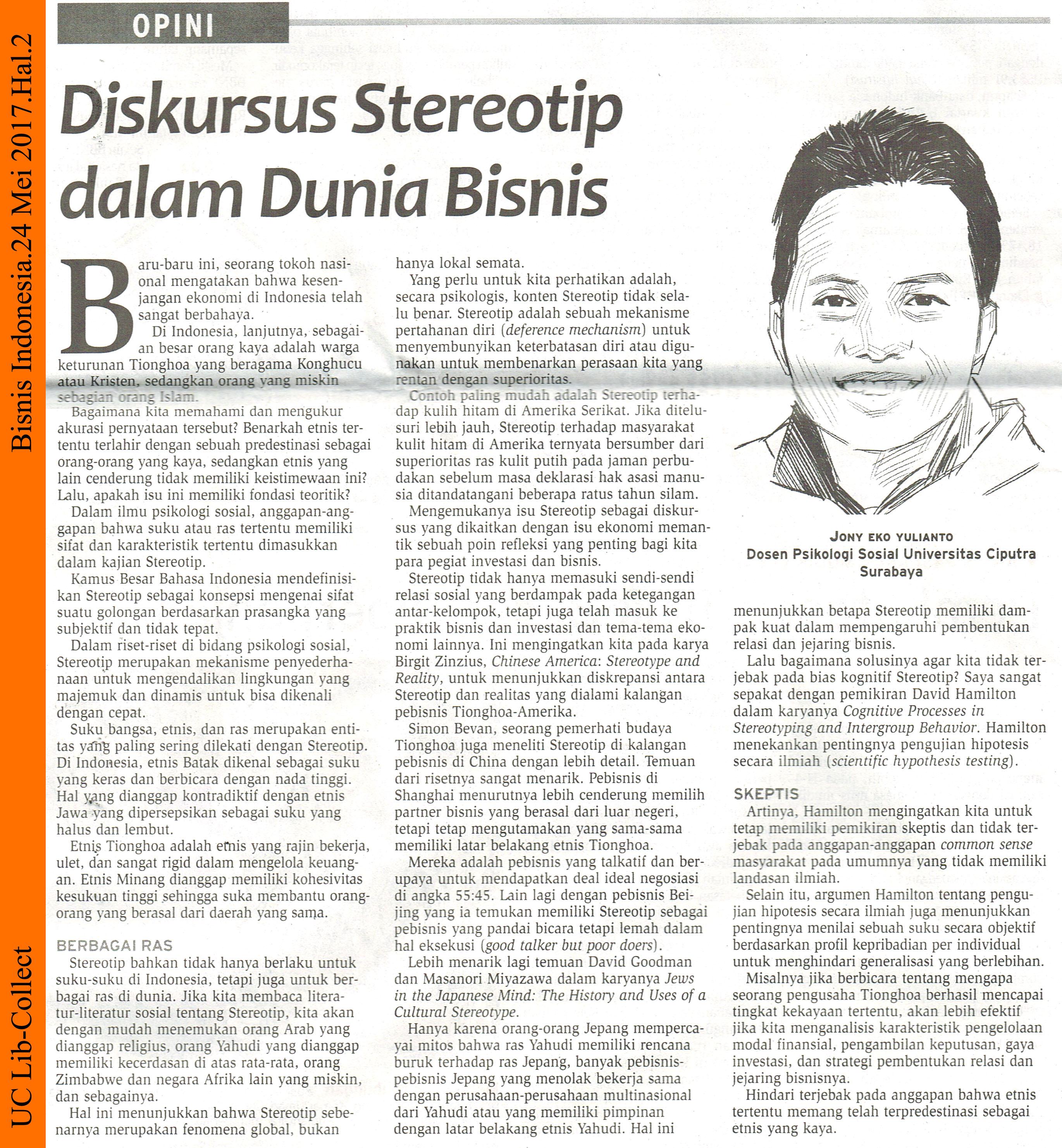 Jony Eko Y@PSY_Diskursus Stereotip dalam Dunia Bisnis. Bisnis Indonesia. 24 Mei 2017.Hal.2