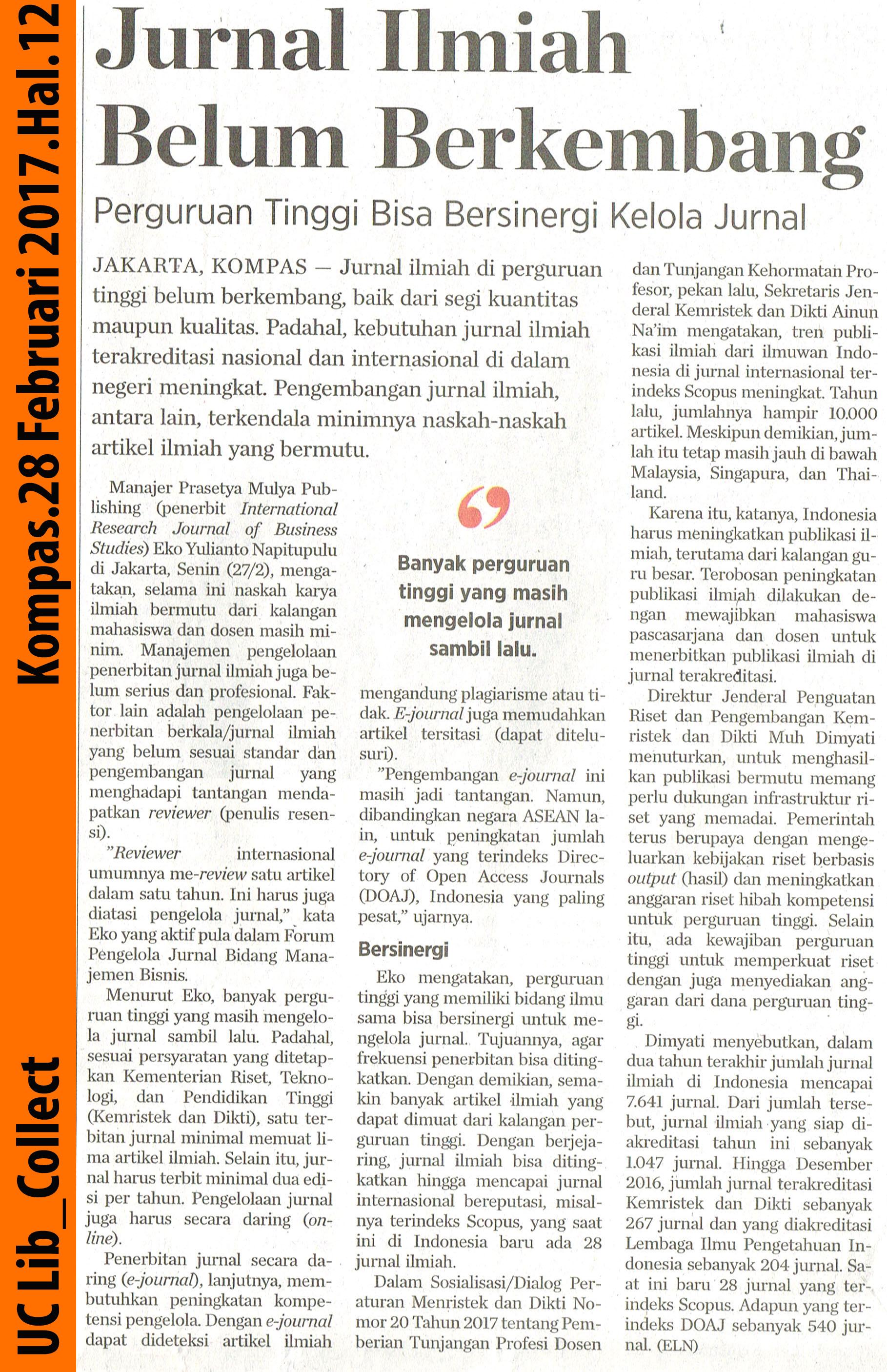 Jurnal Ilmiah Belum Berkembang Kompas 28 Februari 2017 Hal 12
