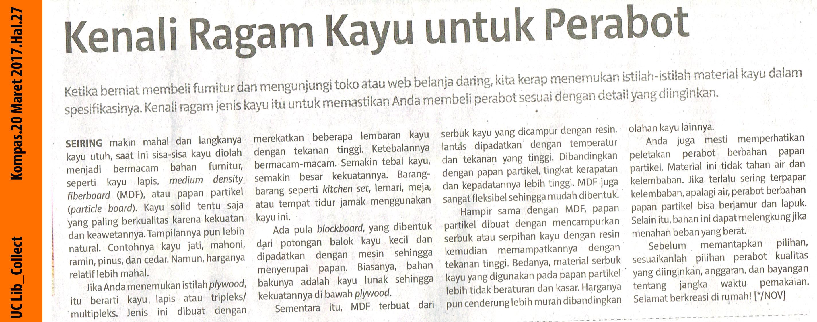 Kanali Ragam Kayu Untuk Perabotan.Kompas.20 Maret 2017.Hal.27