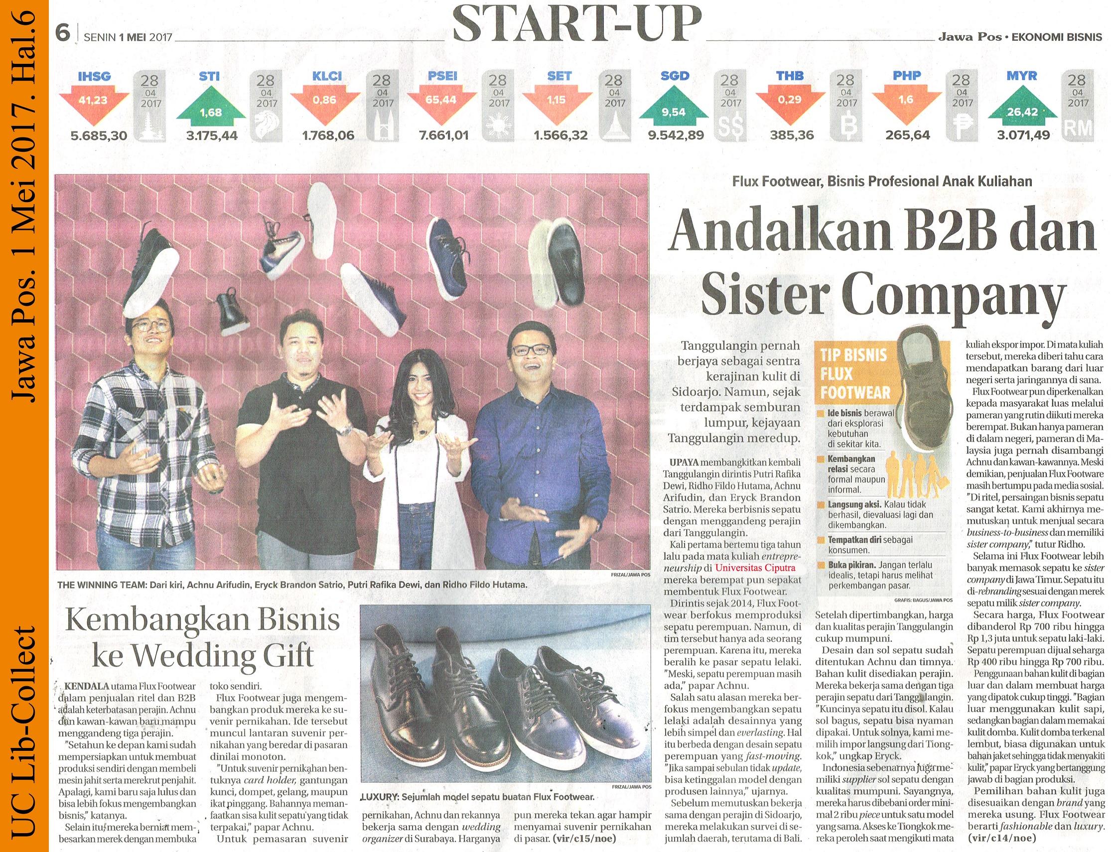Kembangkan Bisnis ke Wedding Gift. Jawa Pos.1 Mei 2017.Hal.6
