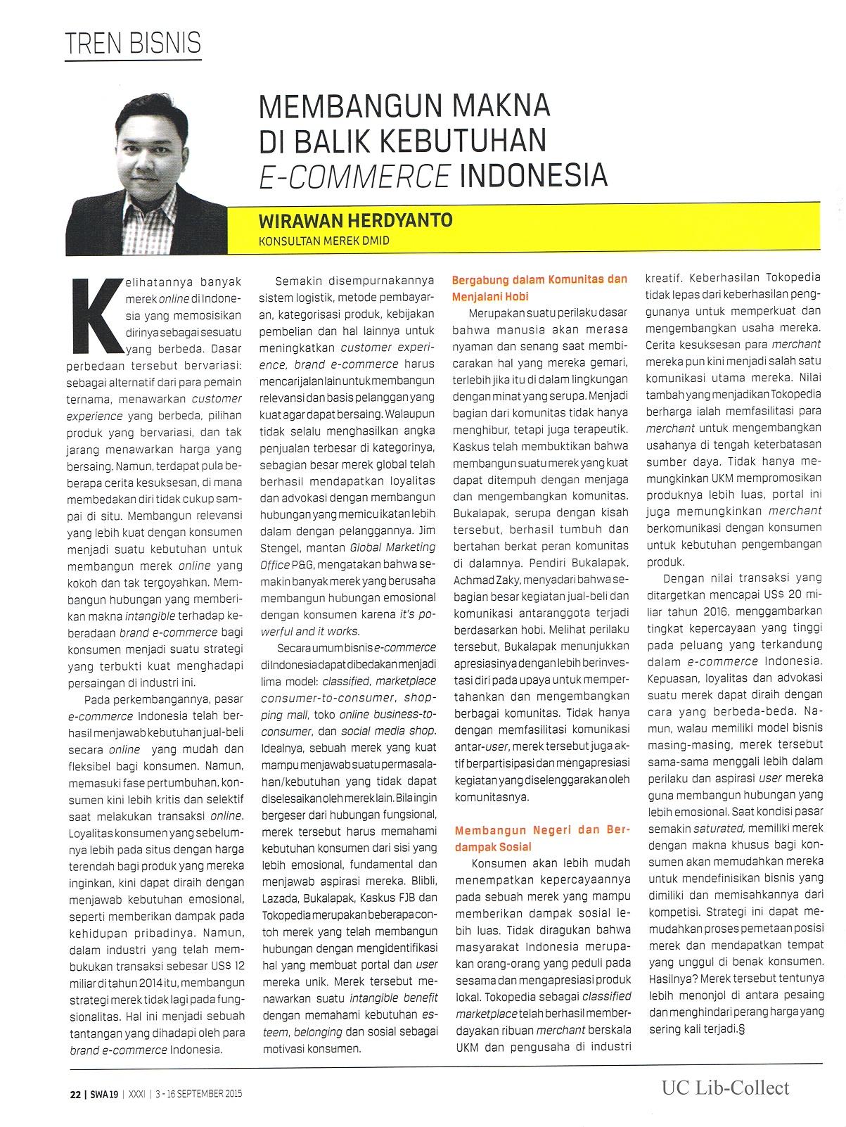 Membangun Makna di Balik Kebutuhan E-Commerce Indonesia.SWA. No.19.3-16 September 2015.Hal.22