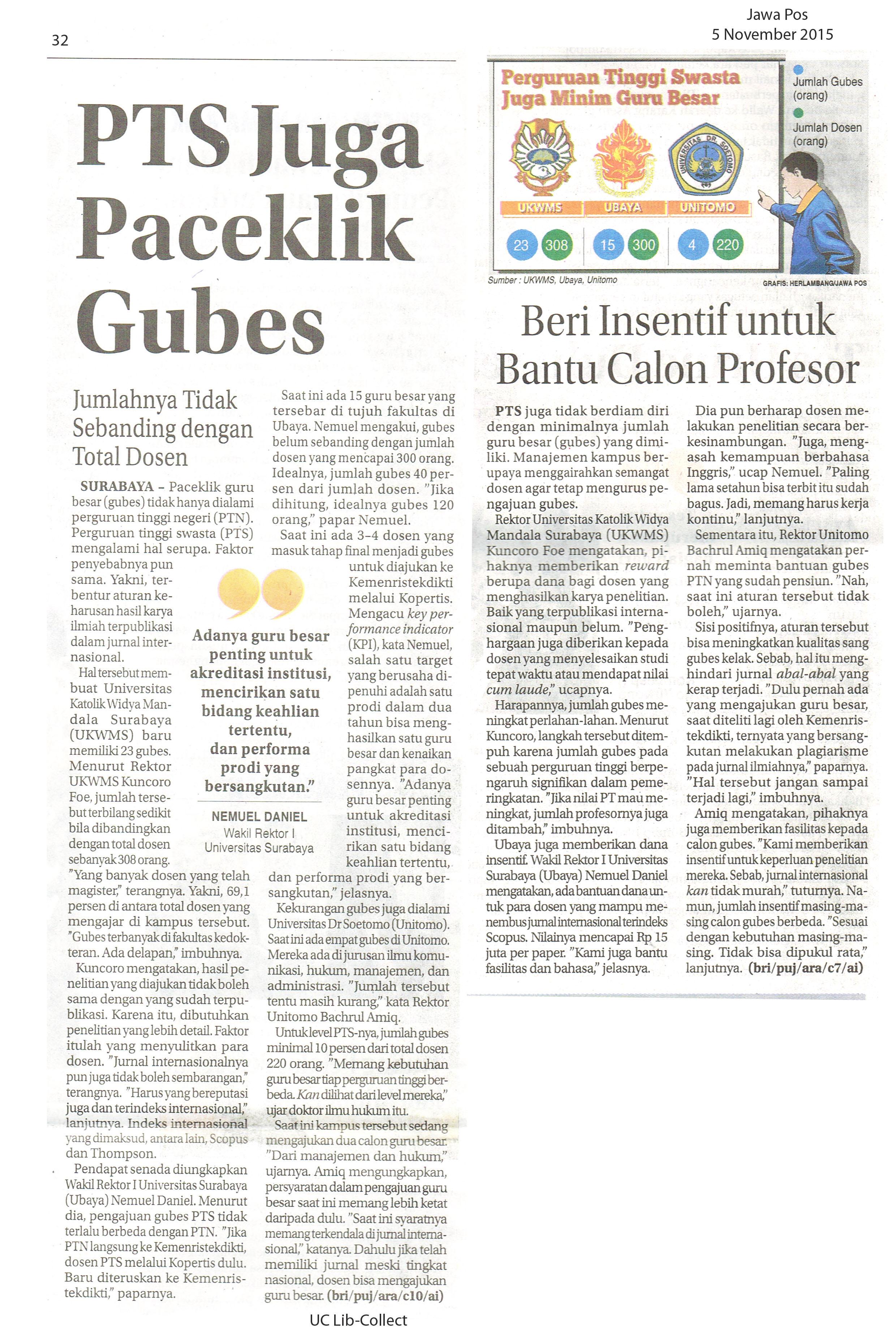 PTS Juga Paceklik Gubes. Jawa Pos. 5 November 2015.Hal.33