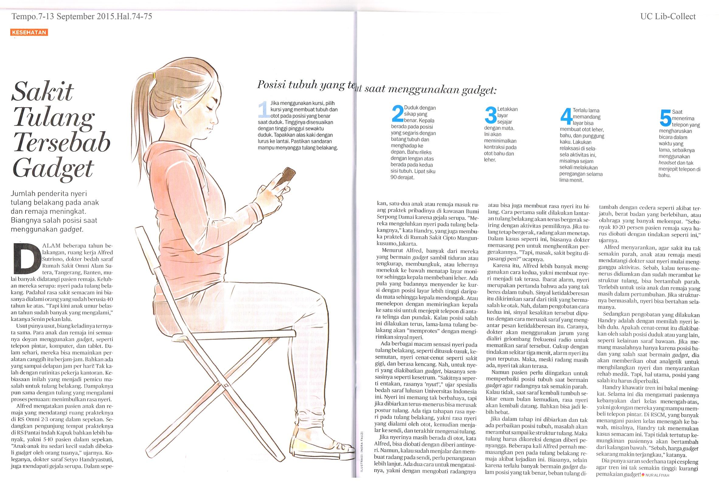 Sakit Tulang Tersebab Gadget.Tempo.7-13 September 2015.Hal.74-75