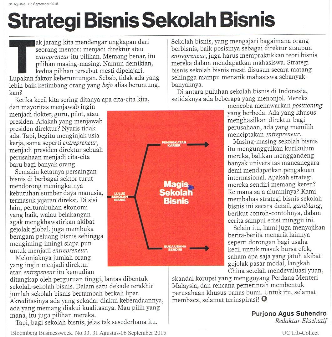 Strategi Bisnis Sekolah Bisnis. Bloomberg Businessweek. No.33. 31 Agustus-06 September 2015