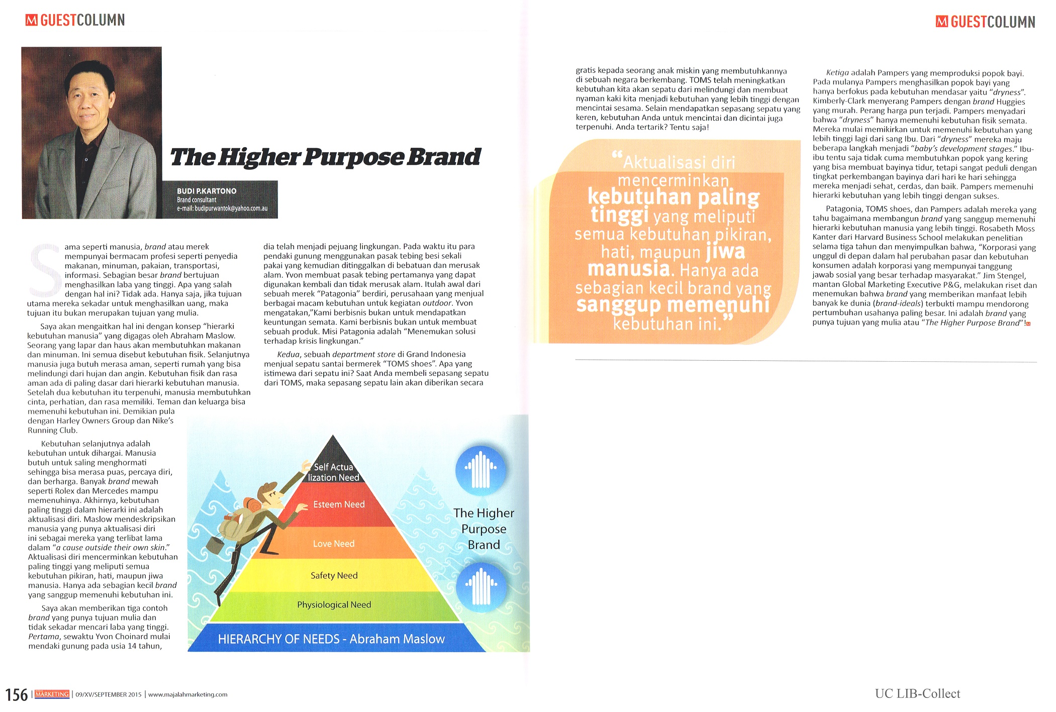 The Higher Purpose Brand. Marketing.Edisi.09.September 2015.Hal.156,157