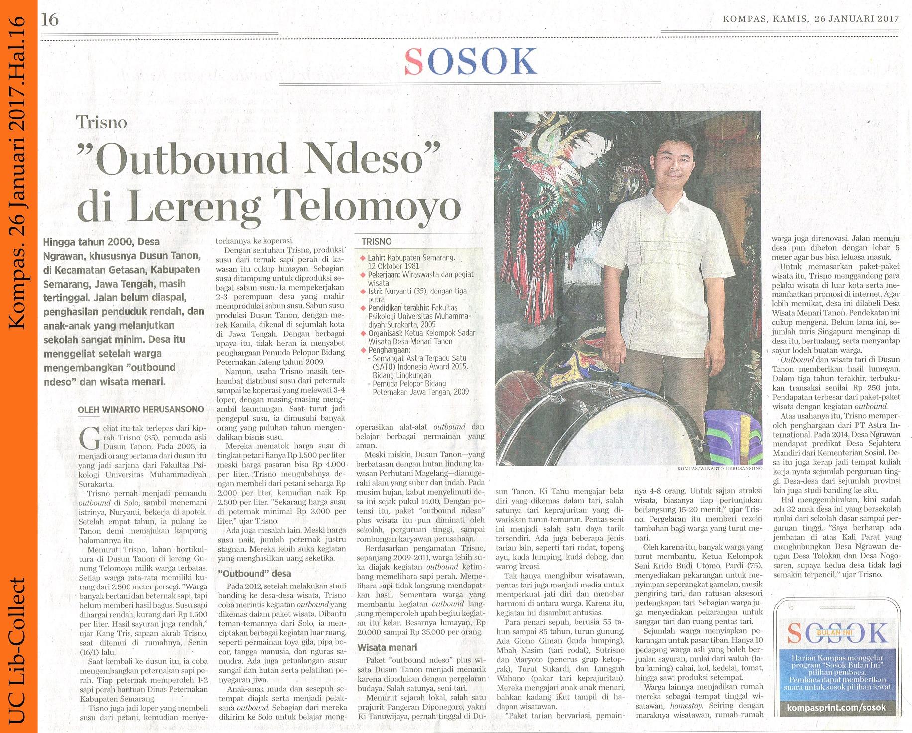 Trisno Outbound Ndeso di Lereng Telomoyo Kompas 26 Januari 2017 Hal 16
