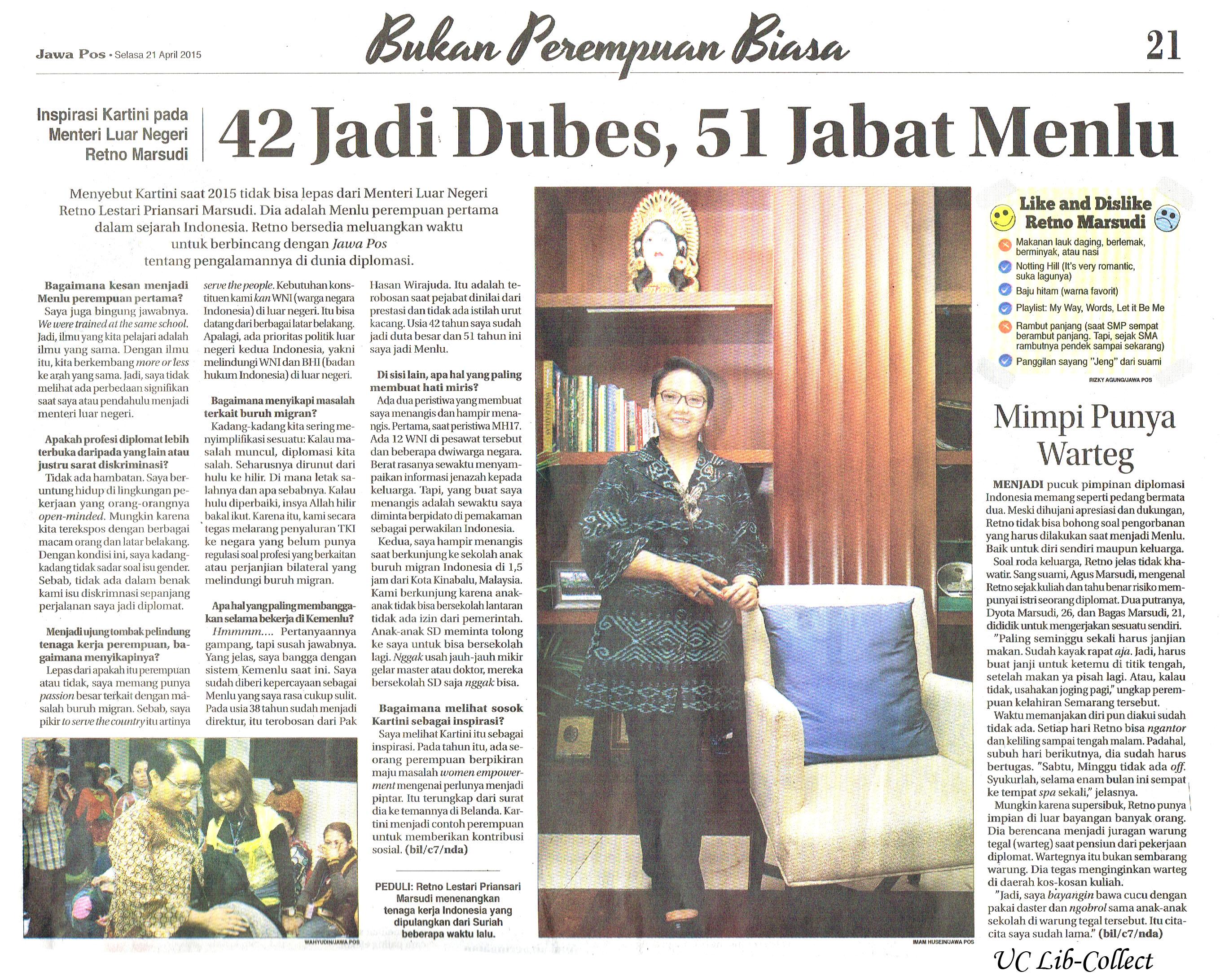 42 Jadi Dubes 51 Jabat Menlu Jawa Pos 21 April 2014 Hal