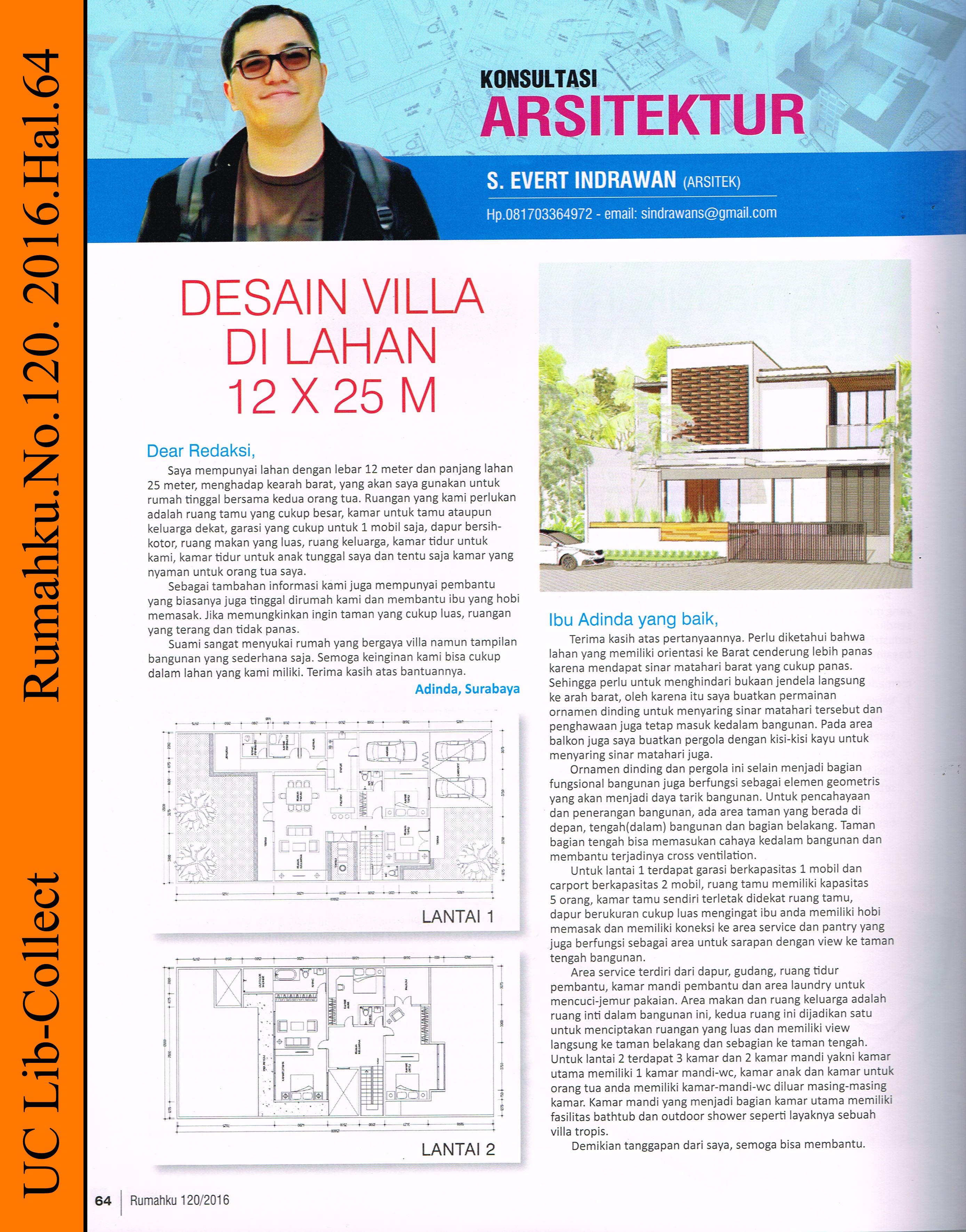desain villa di lahan 12 x 25 m