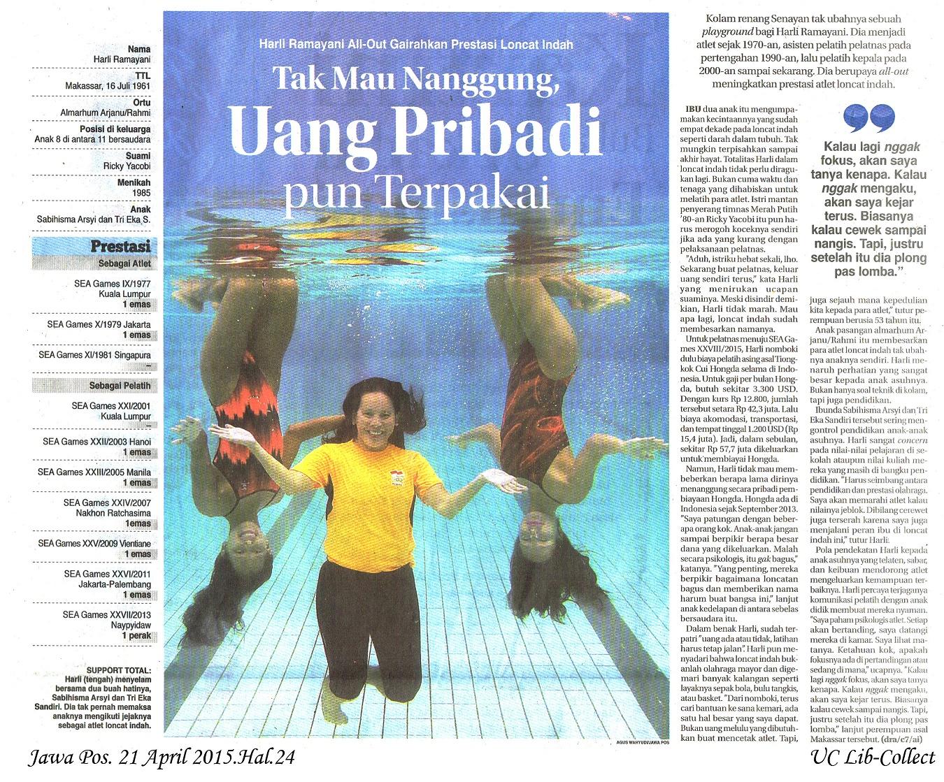 Harli Ramayani All Out Gairahkan Prestasi Loncat Indah. Jawa Pos. 21 April 2015.Hal.24