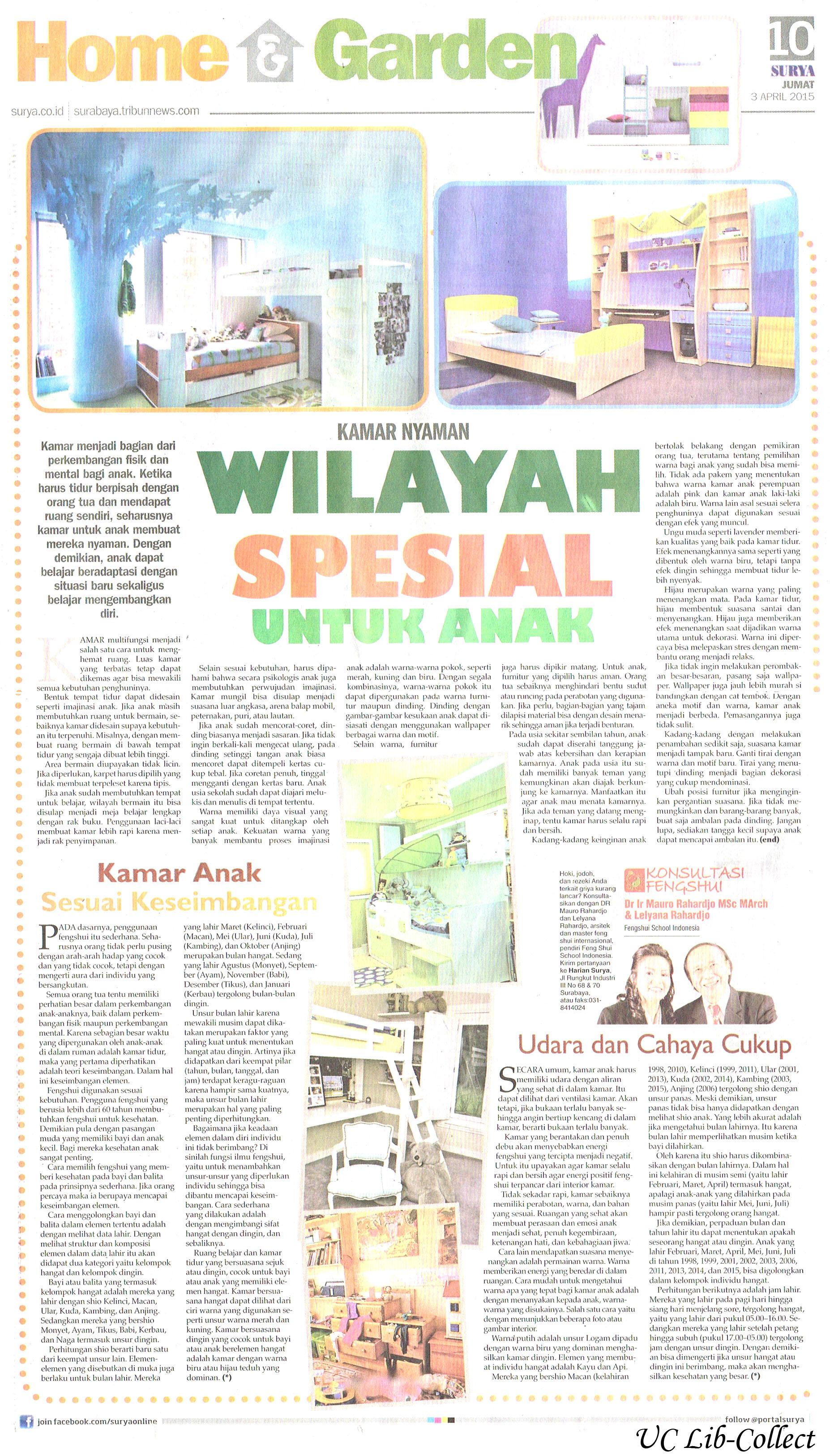 Kamar Nyaman Wilayah Spesial untuk Amak. Surya.3 April 2015.Hal.10