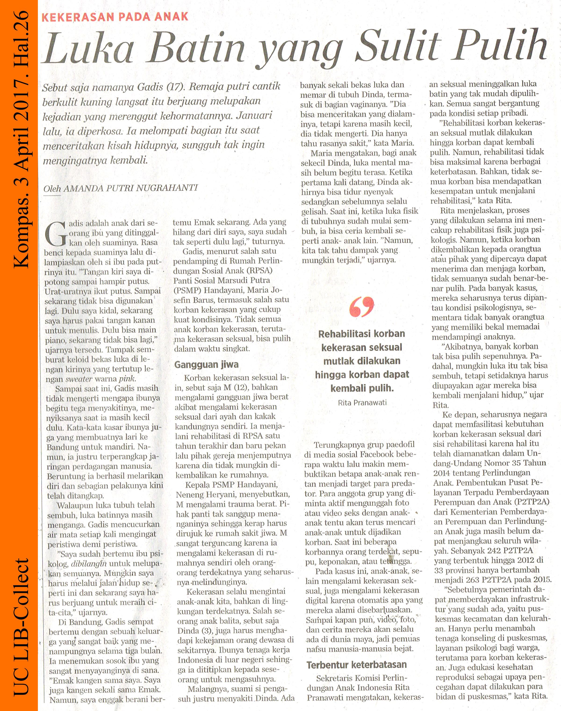 Luka Batin yang Sulit Pulih. Kompas. 3 April 2017. Hal.26