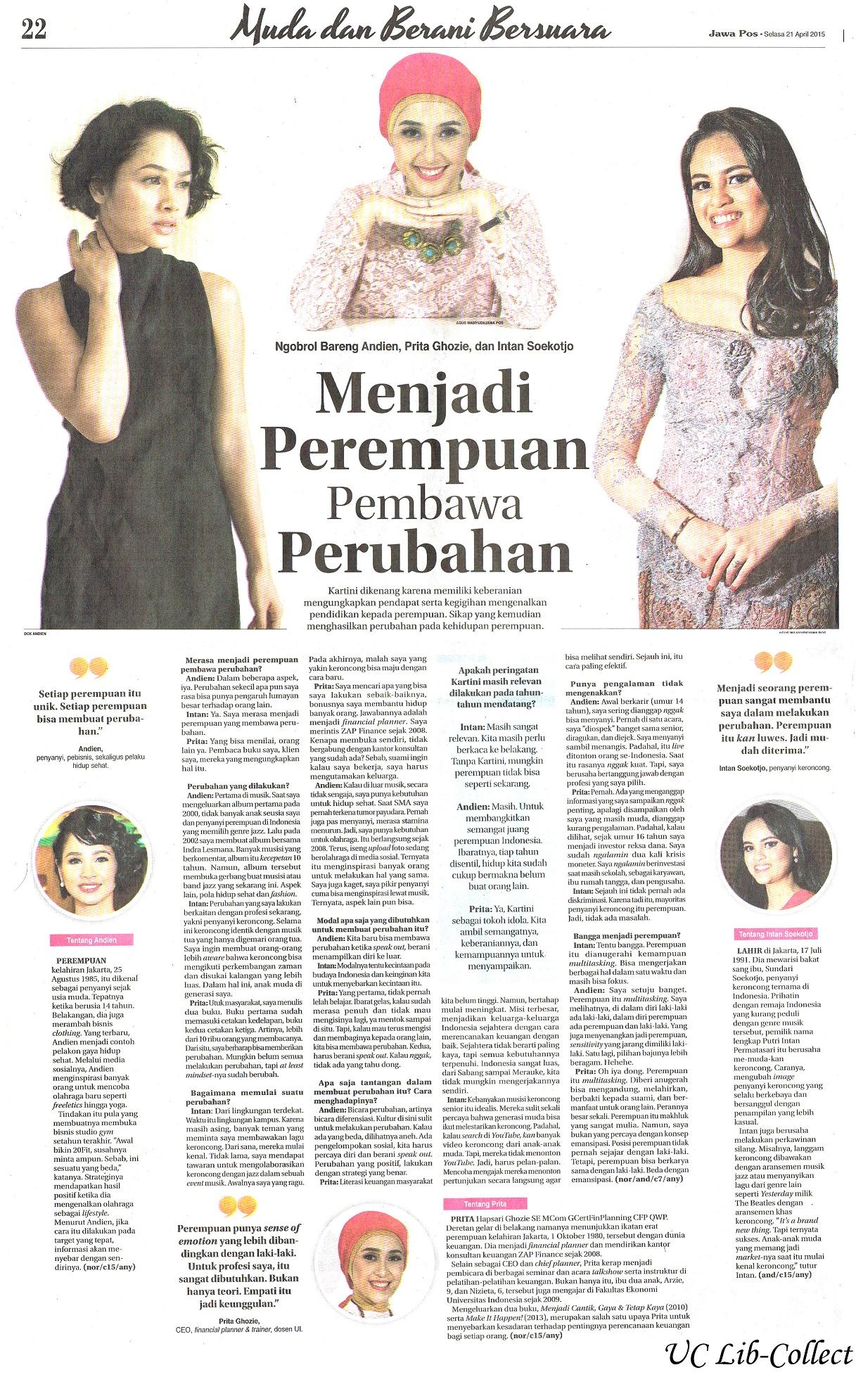 Menjadi Perempuan Pembawa Perubahan. Jawa Pos. 21 April 2014.Hal.22