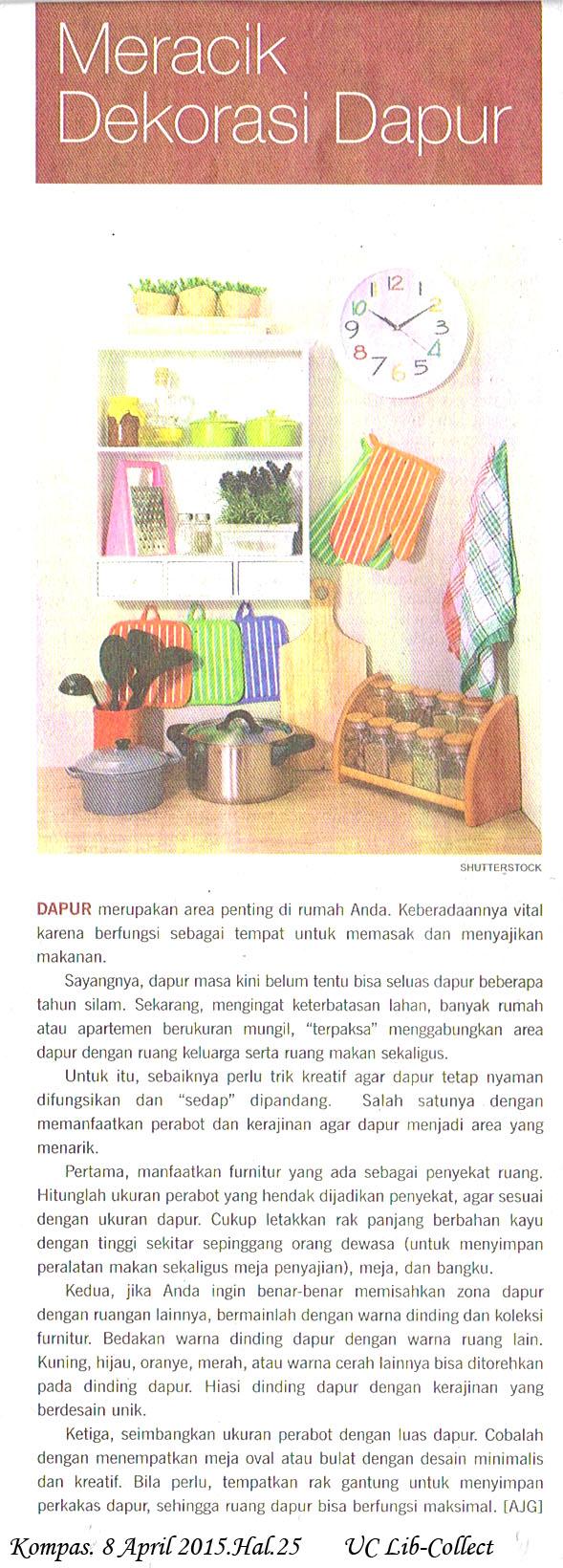 Meracik Dekorasi Dapur. Kompas. 8 April 2015.Hal.25