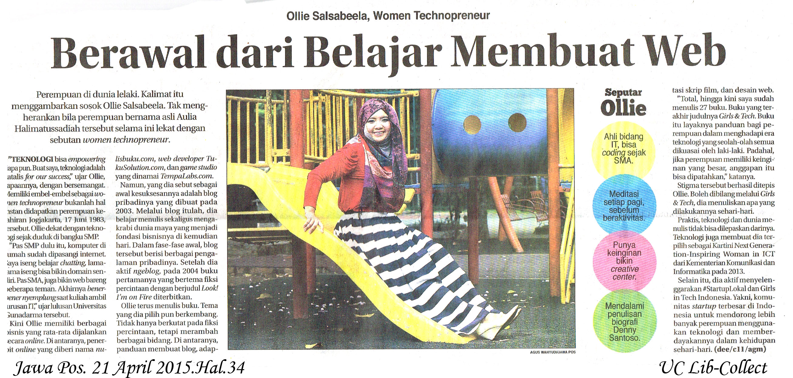 Ollie Salsabeela, Women Technopreneur. Jawa Pos. 21 April 2015.Hal.34