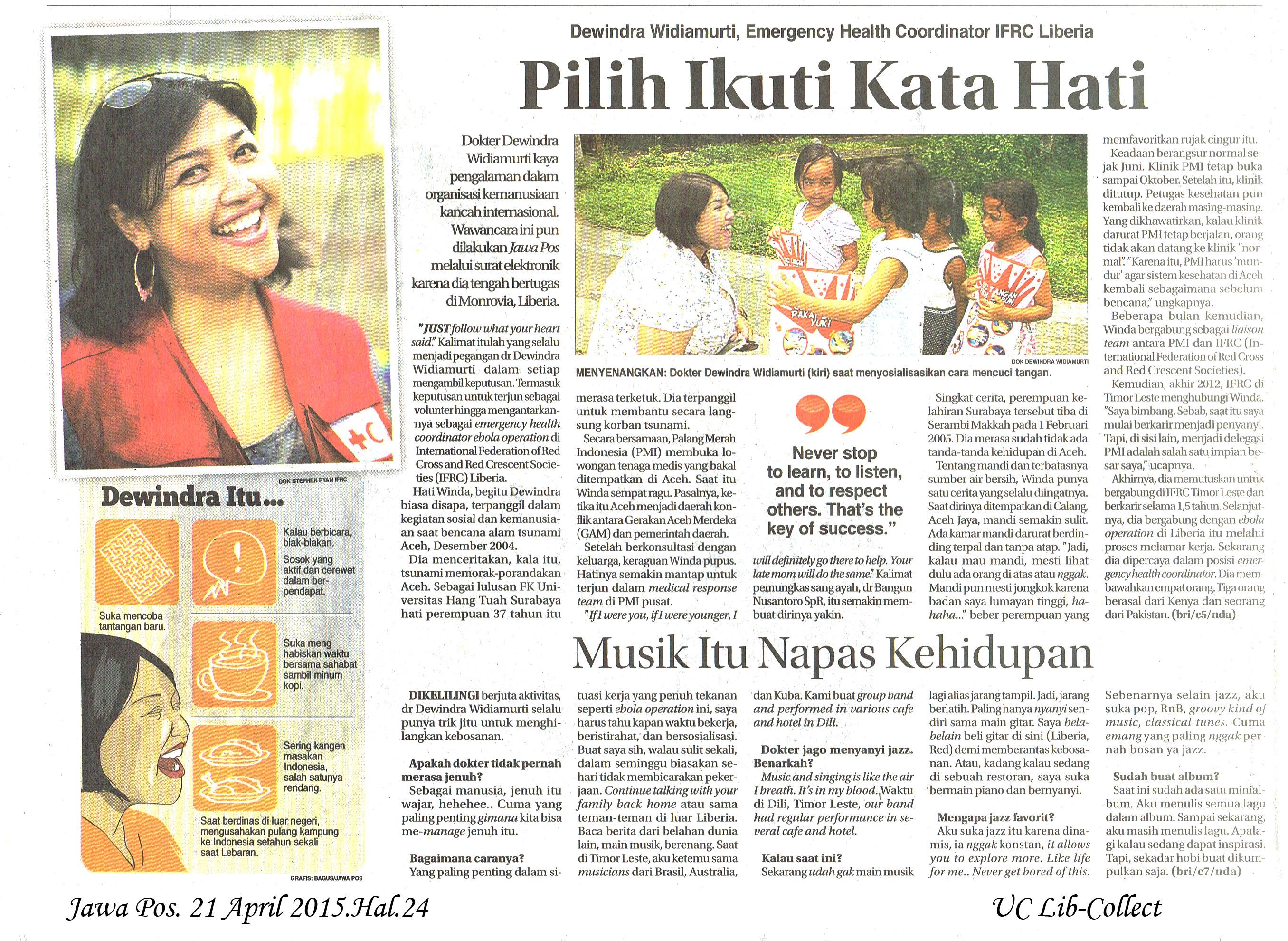 Pilih Ikuti Kata Hati. Jawa Pos. 21 April 2015.Hal.24