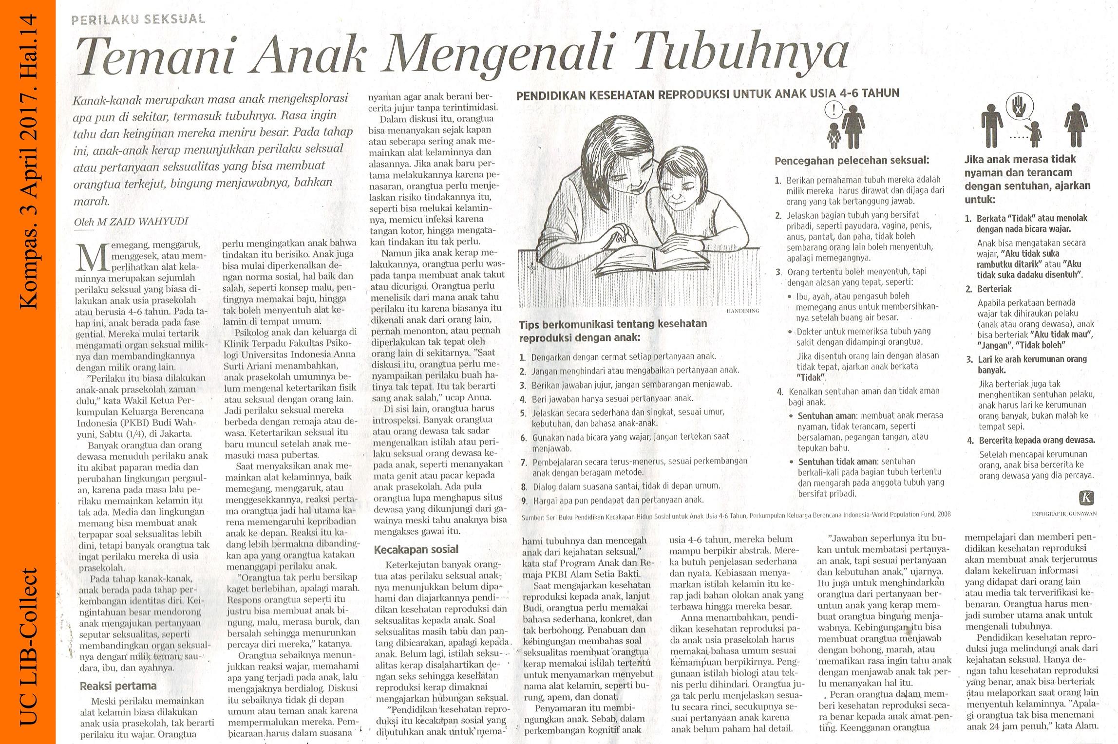 Temani Anak Mengenali Tubuhnya. Kompas. 3 April 2017. Hal.14