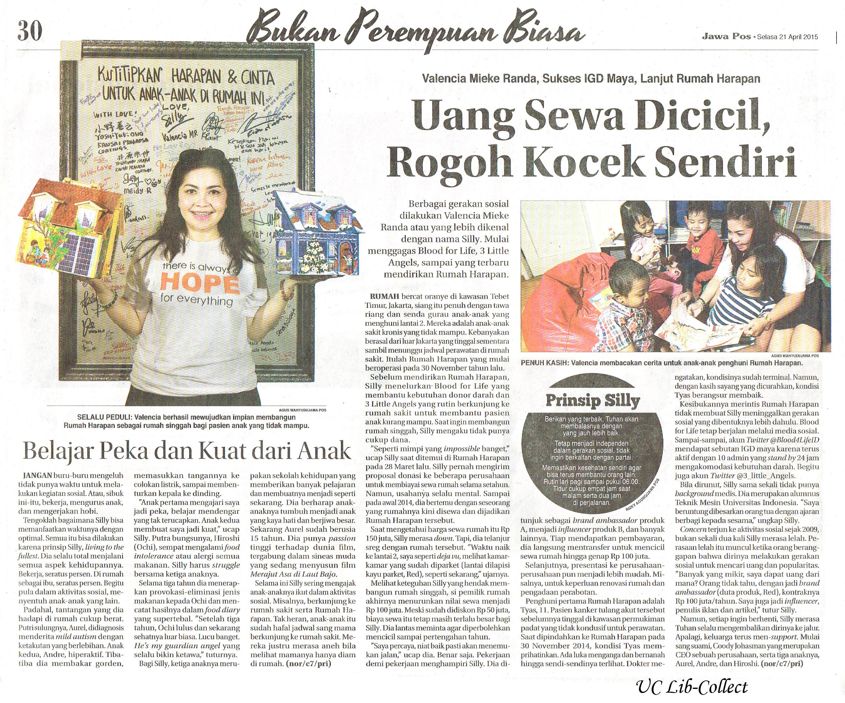 Valencia Mieke Randa, Sukses IGD Maya, LAnjut Rumah Harapan. Jawa Pos. 21 April 2015.Hal.30