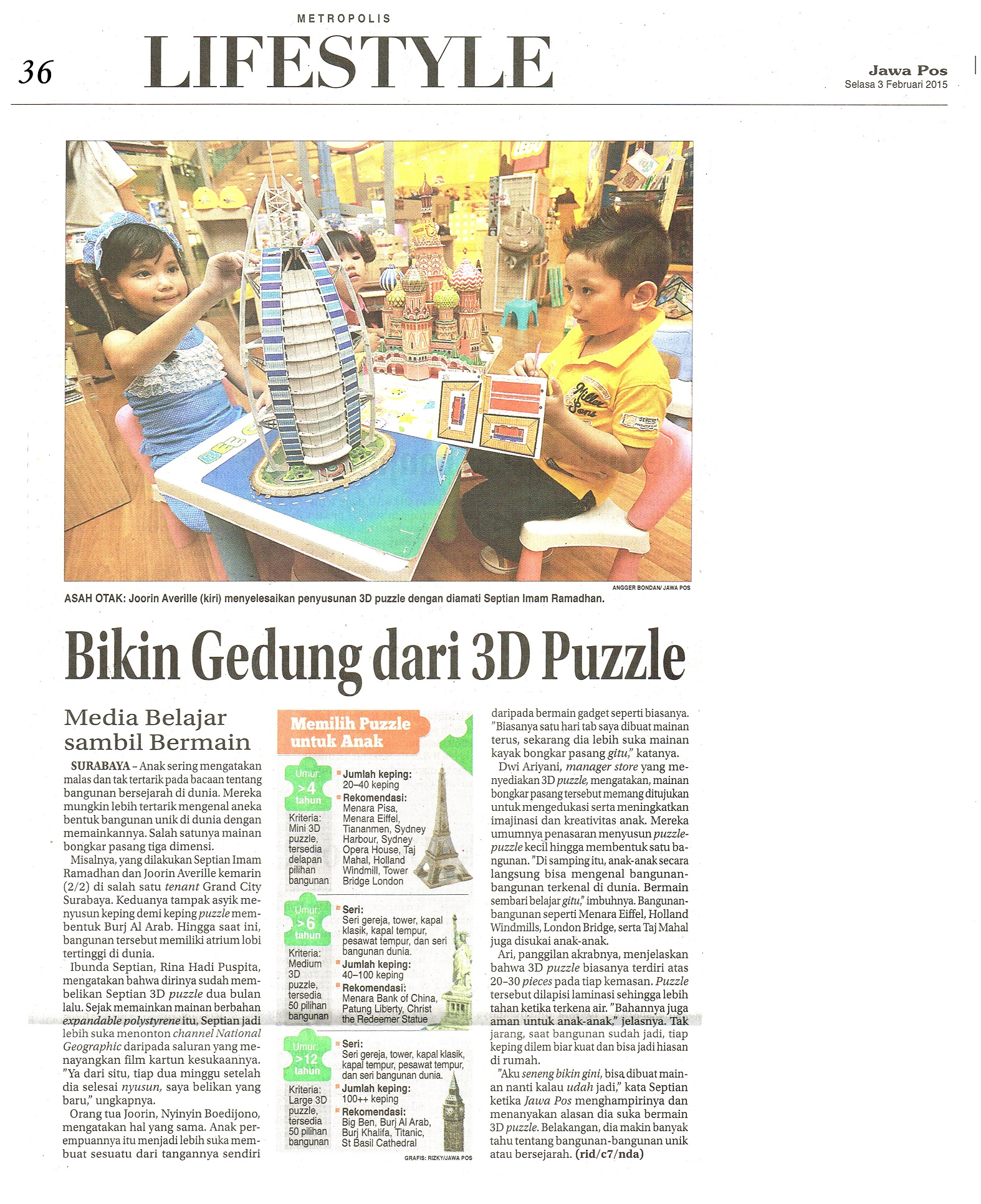 Bikin Gedung dari 3D Puzzle. Jawa Pos.3 Februari 2015.Hal.36