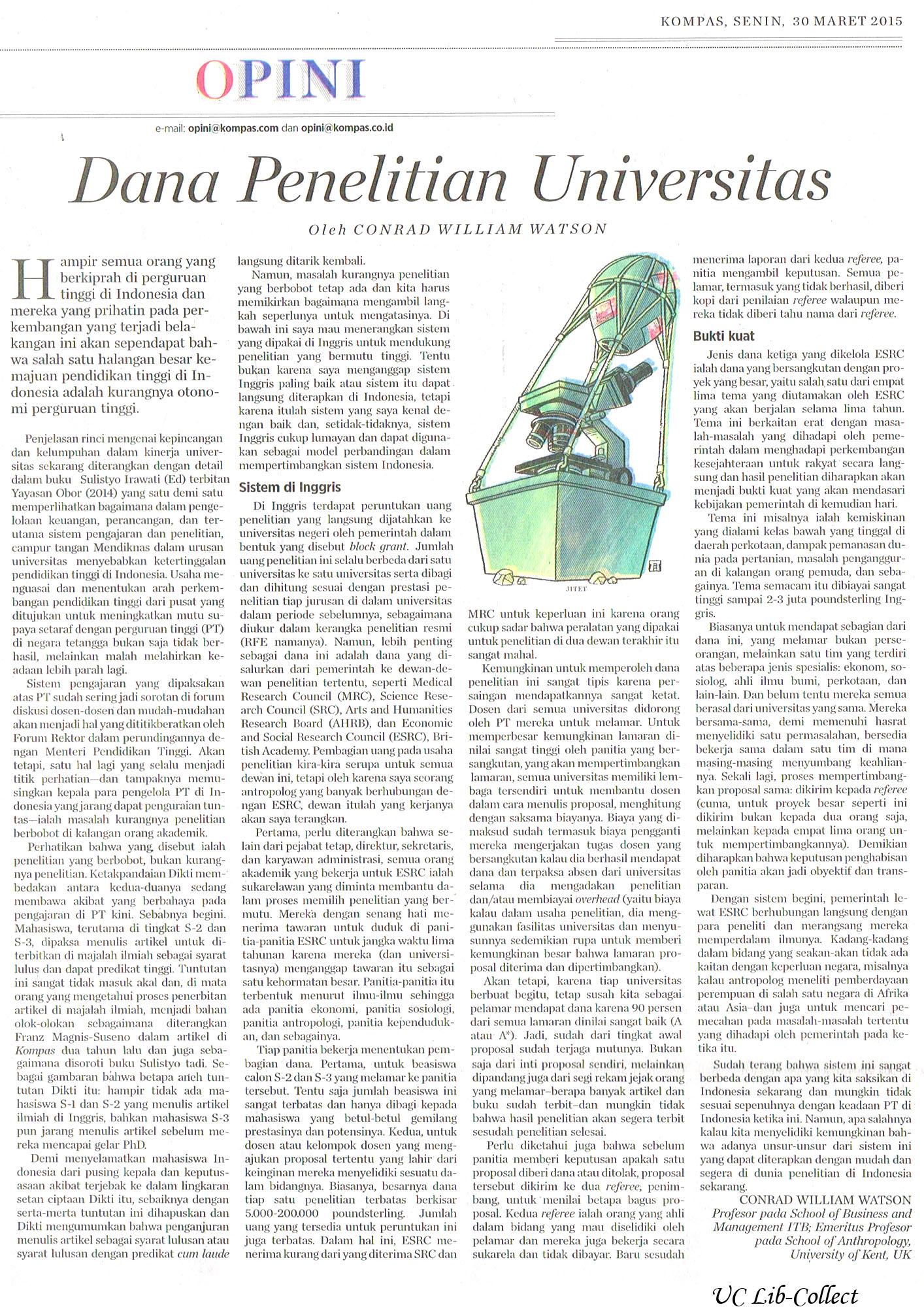 Dana Penelitian Universitas. Kompas.30 Maret 2015.Hal.6