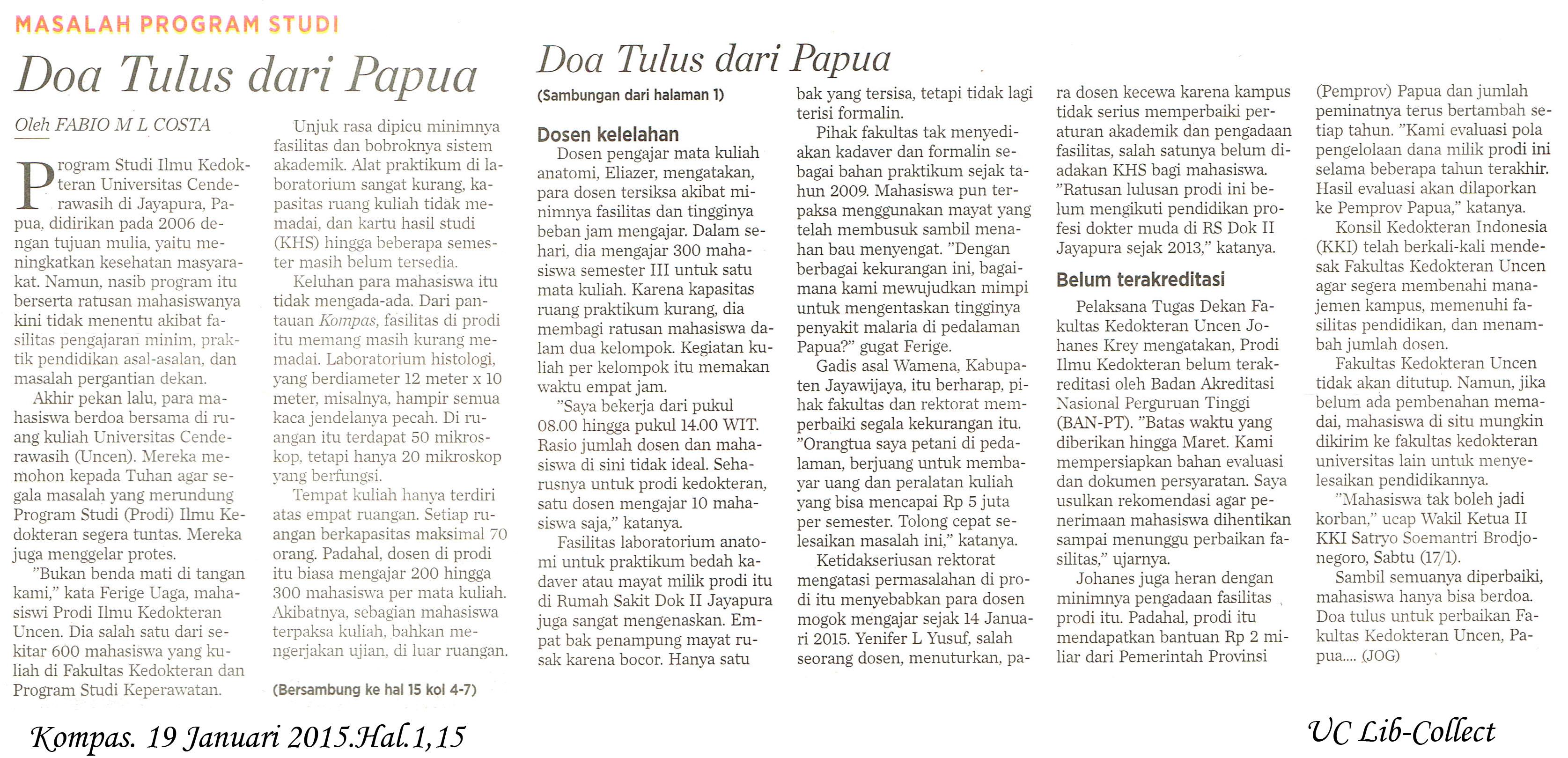 Masalah Program Studi Doa Tulus dari Papua Kompas 19 januari 2015 Hal 1