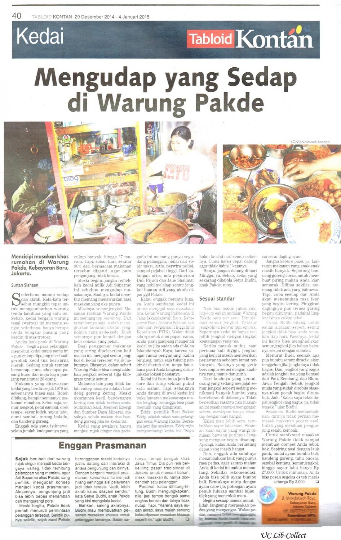Mengudap yang sedap di Warung Pakde. Tabloid Kontan. 29 Desember 2014-4 Januari 2015