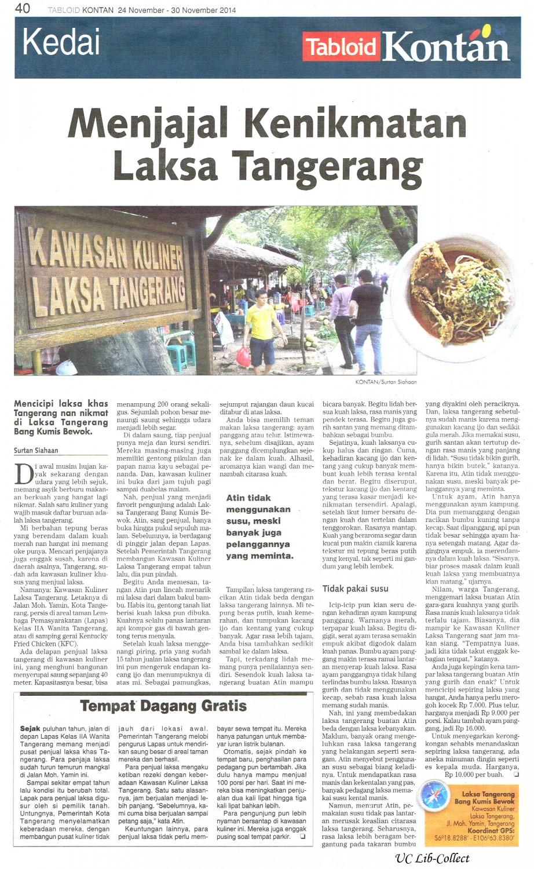 Menjajal Kenikmatan Laksa Tangerang. Kontan.24-30 November 2014.Hal.40